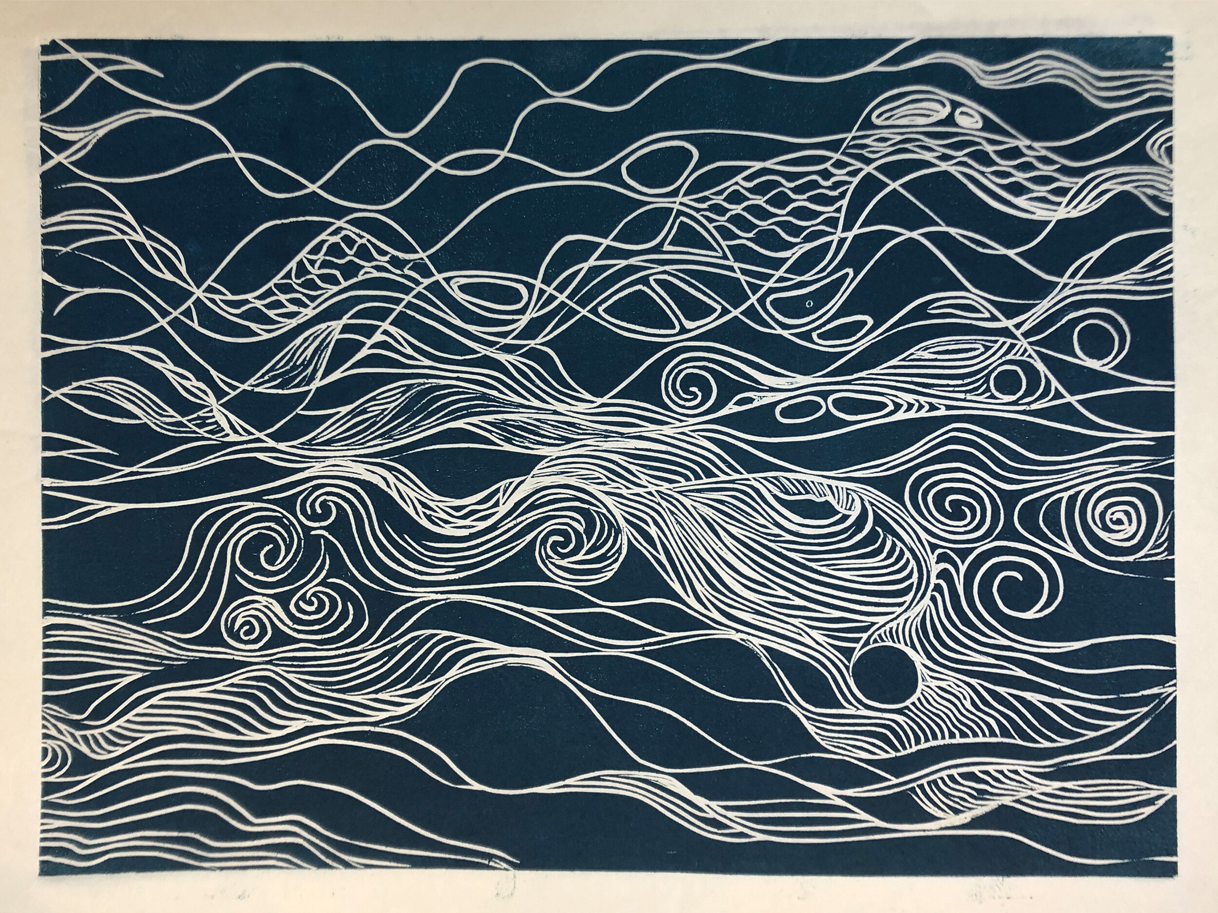 """Water: Variations on a theme (5 of 9)    Woodcut Prints 1, 2, and 3 block combinations  12 x 16""""  $300 ea  $500/2  $700/3  Click image to enlarge ⦿  Inquire"""