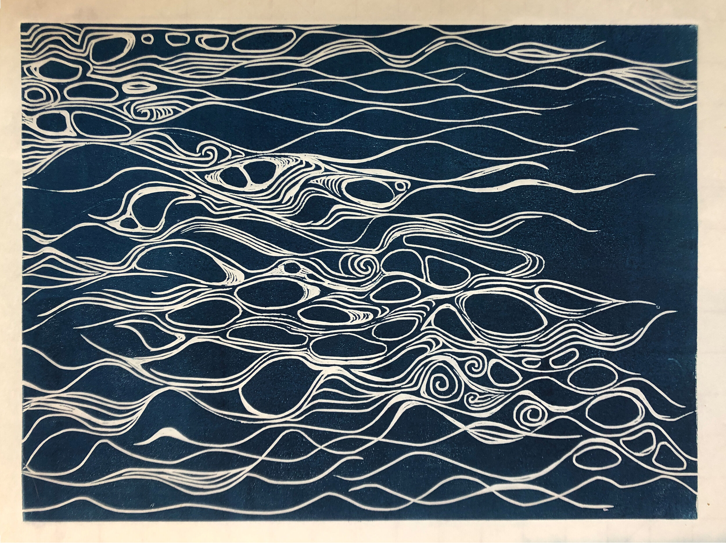 """Water: Variations on a theme (6 of 9)    Woodcut Prints 1, 2, and 3 block combinations  12 x 16""""  $300 ea  $500/2  $700/3  Click image to enlarge ⦿  Inquire"""