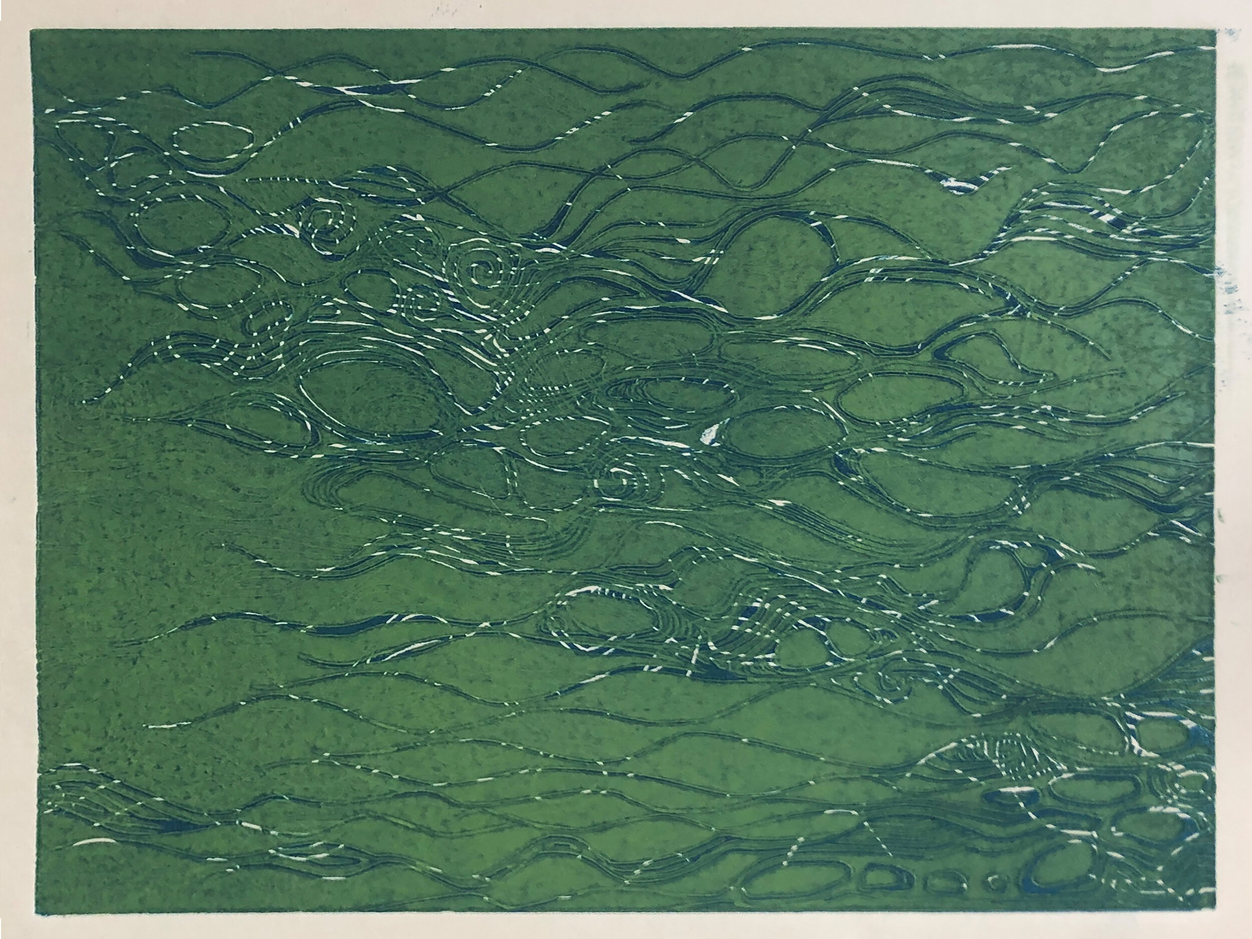 """Water: Variations on a theme (7 of 9)    Woodcut Prints 1, 2, and 3 block combinations  12 x 16""""  $300 ea  $500/2  $700/3  Click image to enlarge ⦿  Inquire"""