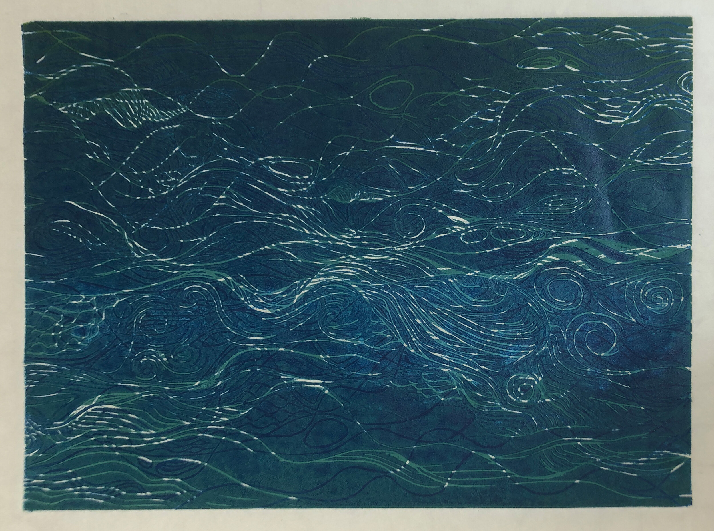 """Water: Variations on a theme (8 of 9)    Woodcut Prints 1, 2, and 3 block combinations  12 x 16""""  $300 ea  $500/2  $700/3  Click image to enlarge ⦿  Inquire"""