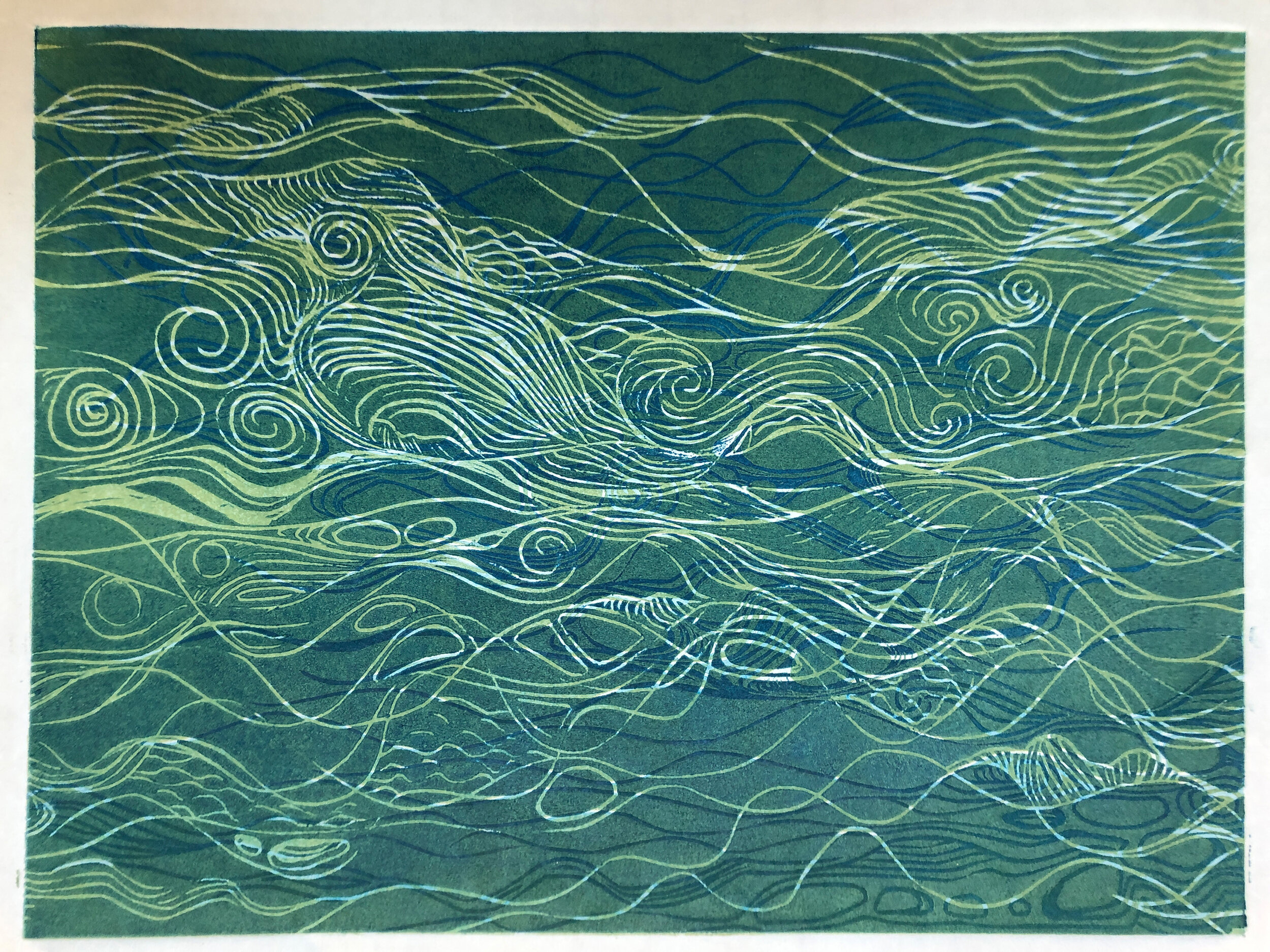 """Water: Variations on a theme (9 of 9)    Woodcut Prints 1, 2, and 3 block combinations  12 x 16""""  $300 ea  $500/2  $700/3  Click image to enlarge ⦿  Inquire"""