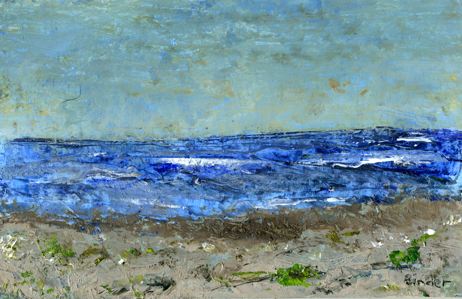 """Where Land and Water Meet    Oil on cardboard  4"""" x 6""""  $129  Click image to enlarge ⦿  Inquire"""