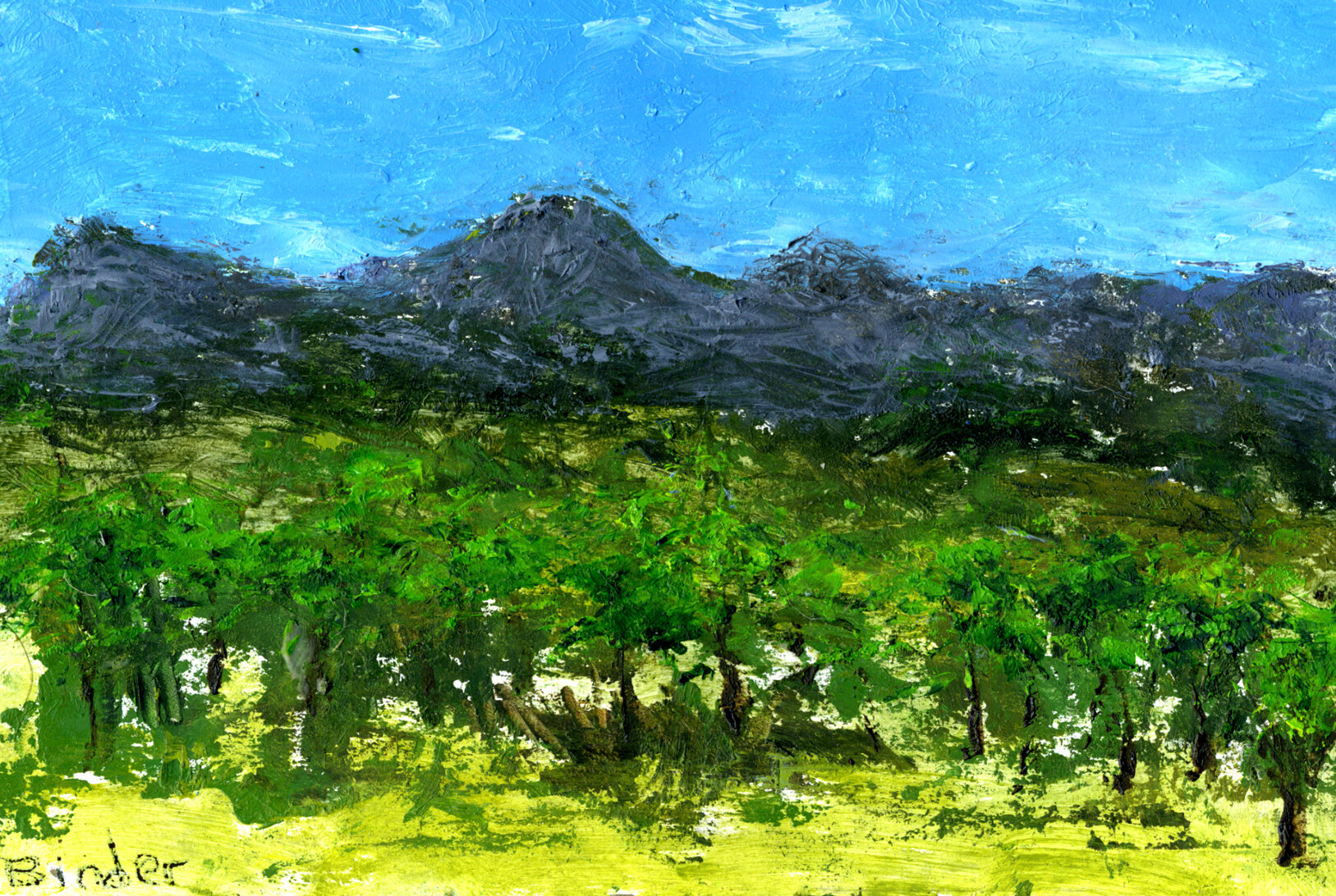 """Purple Mountain Majesties    Oil on cardboard  4"""" x 6"""" x 1/4""""  $129  Click image to enlarge ⦿  Inquire"""