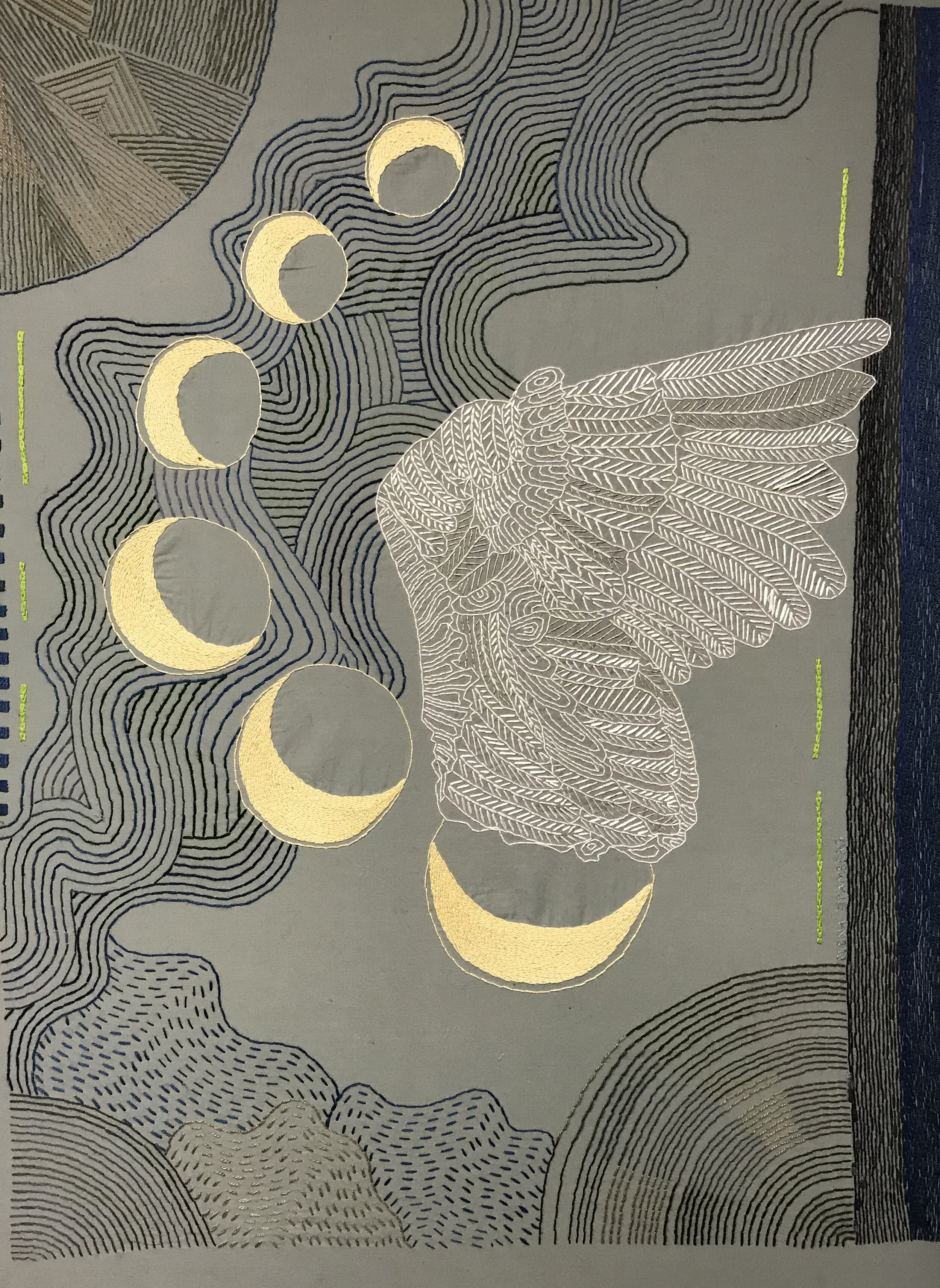Crescent Swan Wing,   cloth and thread, 40 x 30 in