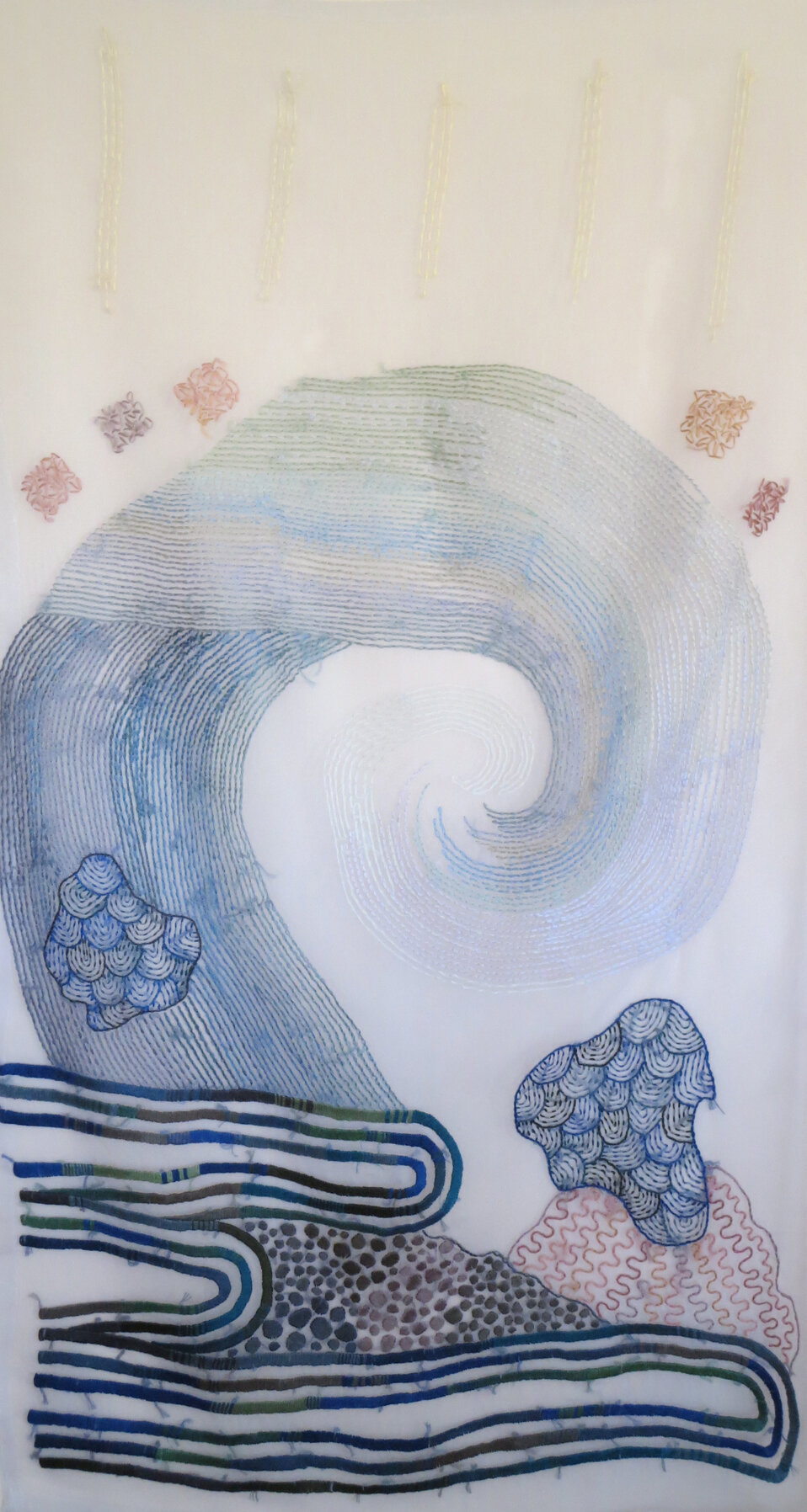 Luminous Dancing Wave Explodes  , cloth and thread, 50 x 25 in