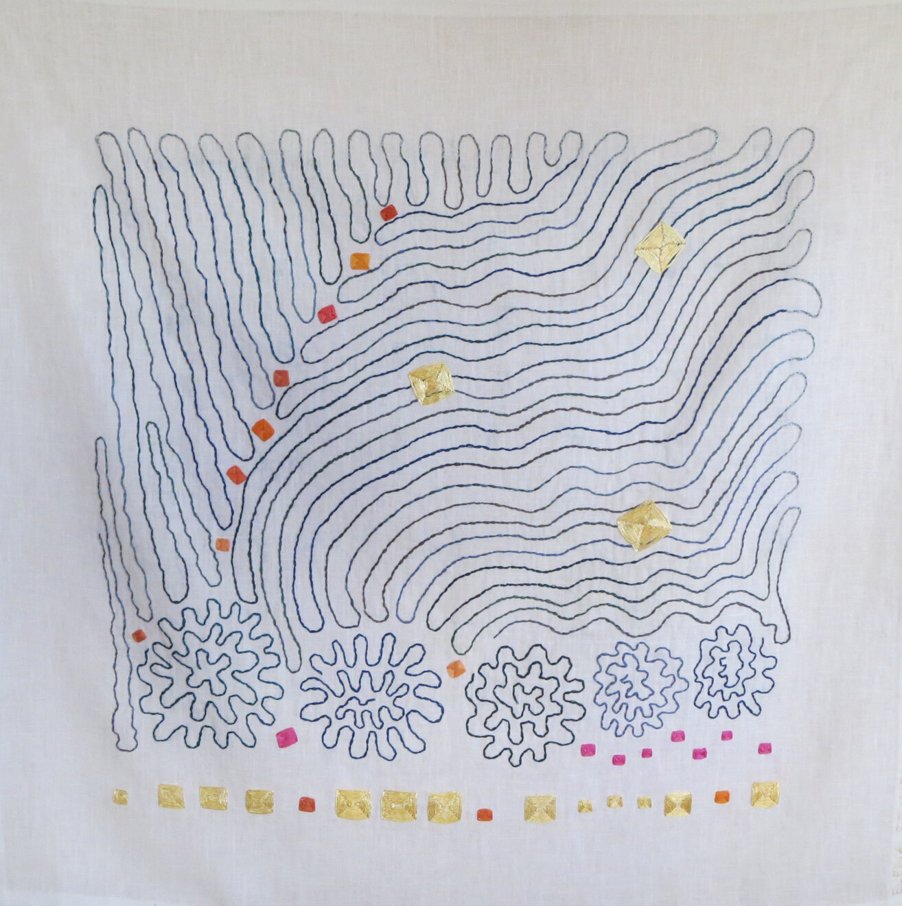 Swirling Surface Exposes Treasure  , cloth and thread, 32 x 32 in