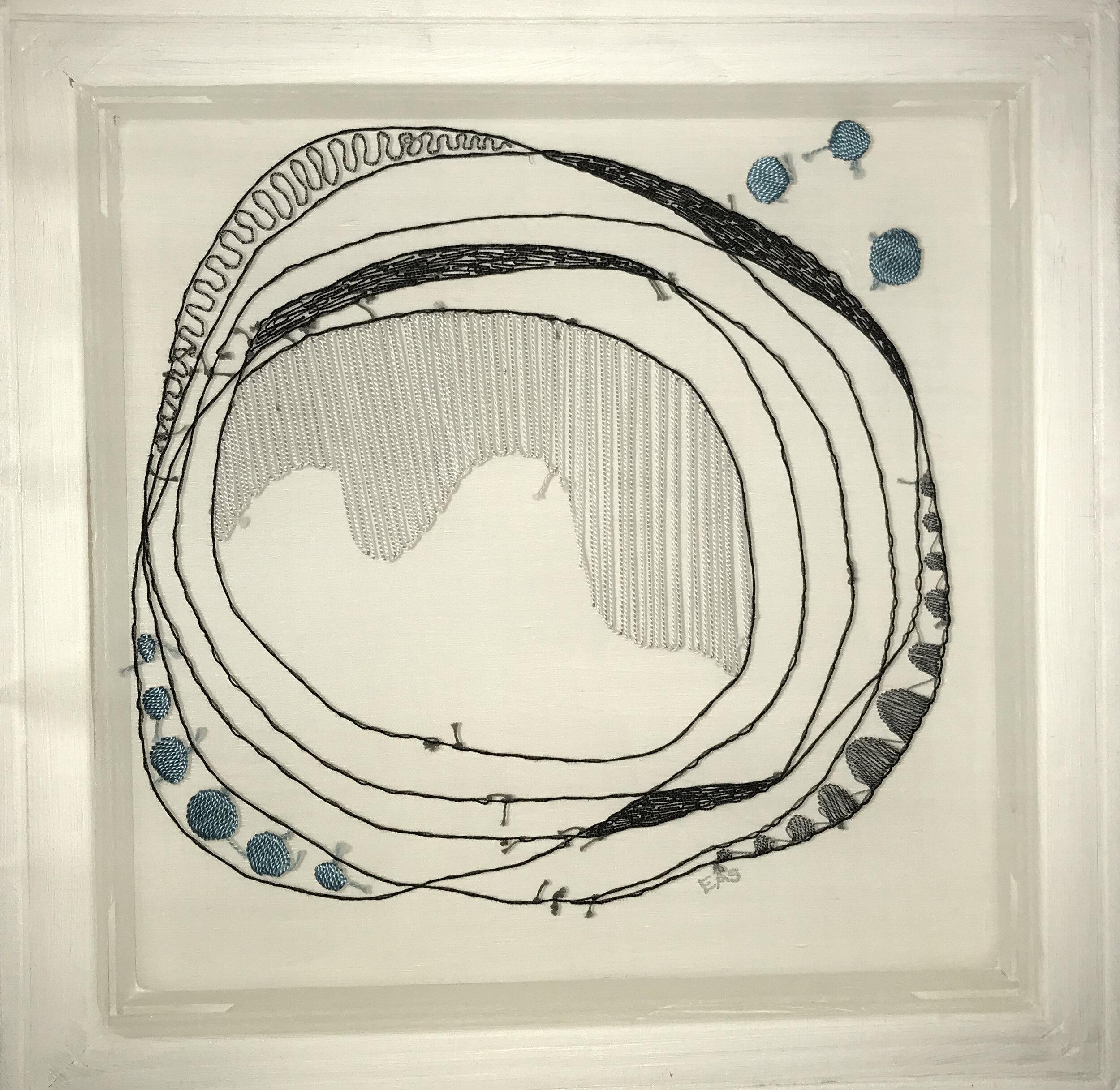 Tidepool Moon  , cloth and thread, 16 x 16 in