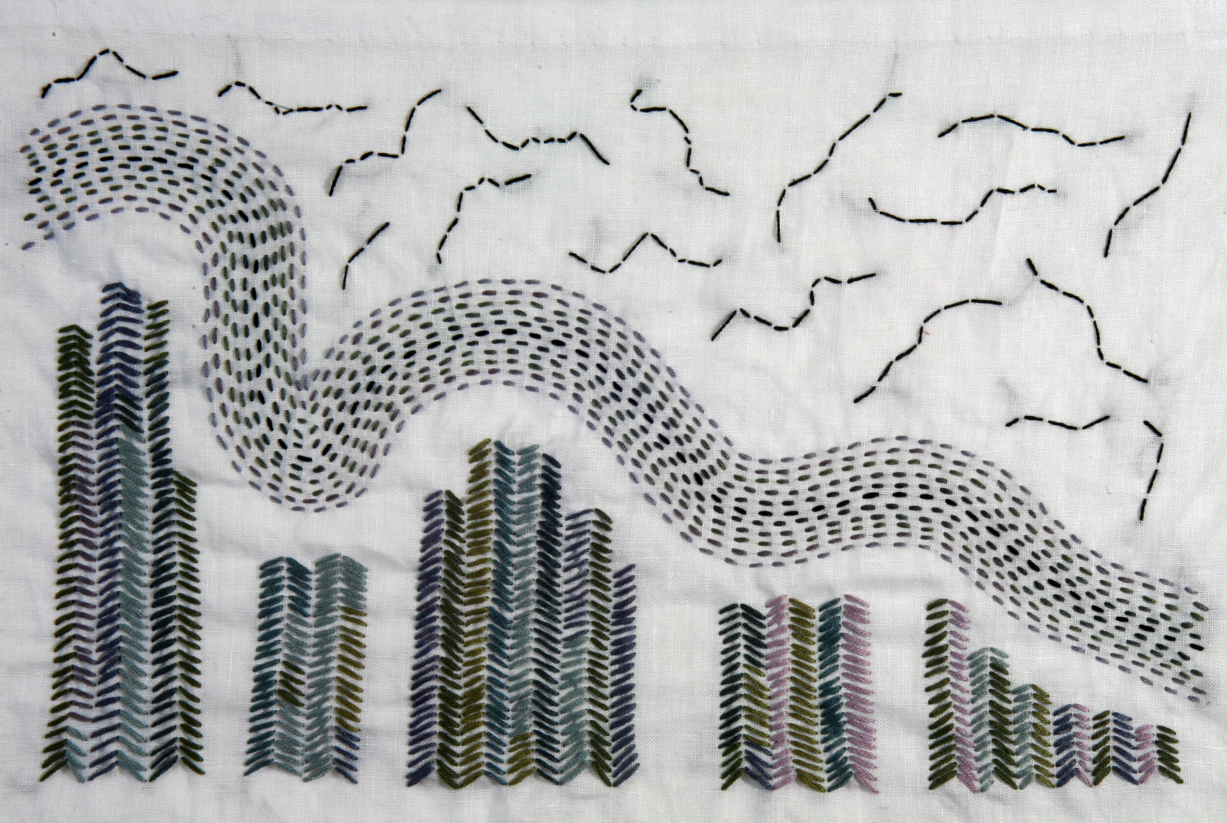 Winged Acrobats  , cloth and thread, 10.5 x 15.5 in