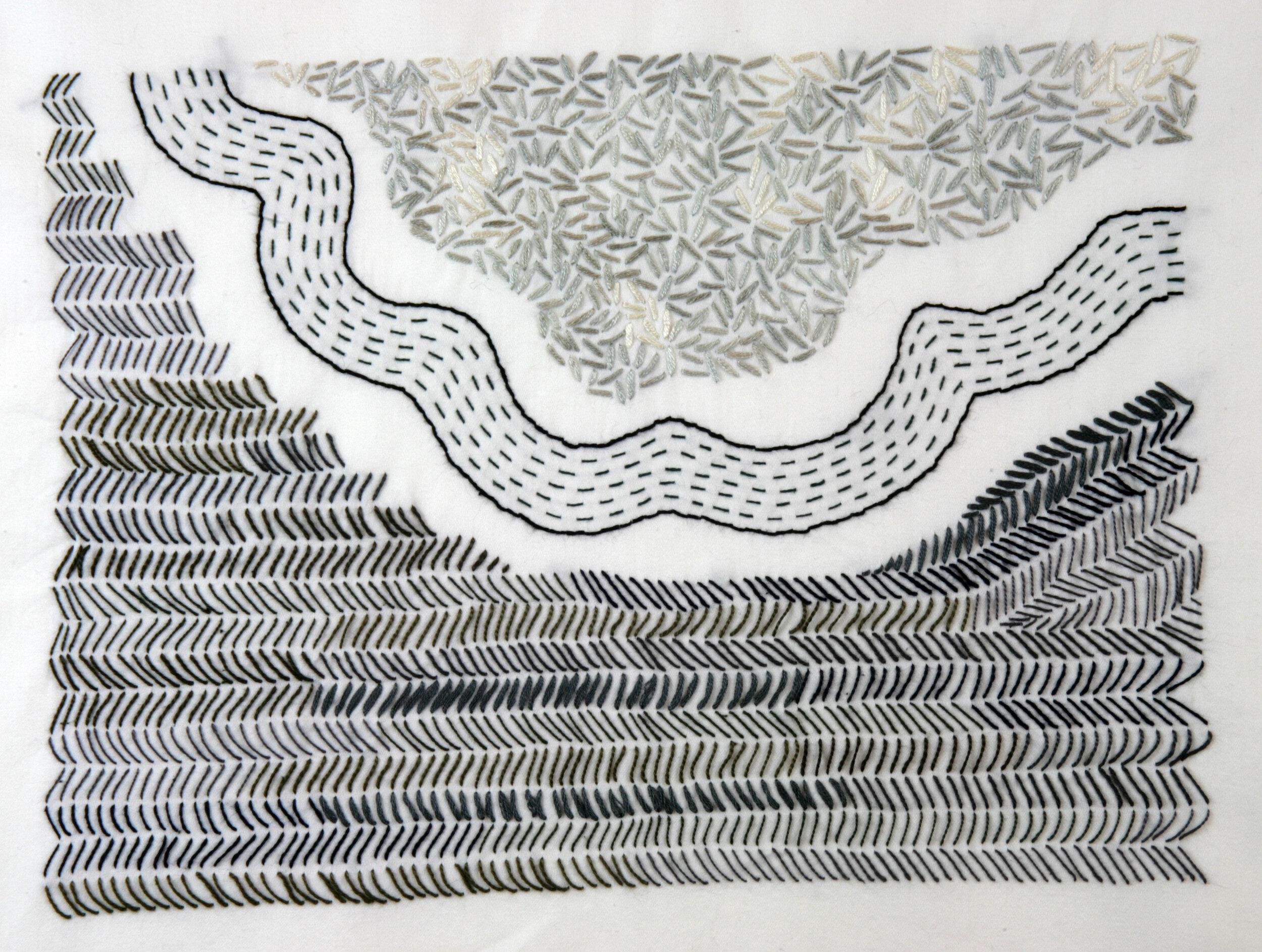 Windblown Seafoam  , cloth and thread, 11 x 14 in