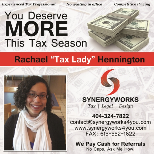 Rachael Tax Accountant Promotional Flyer