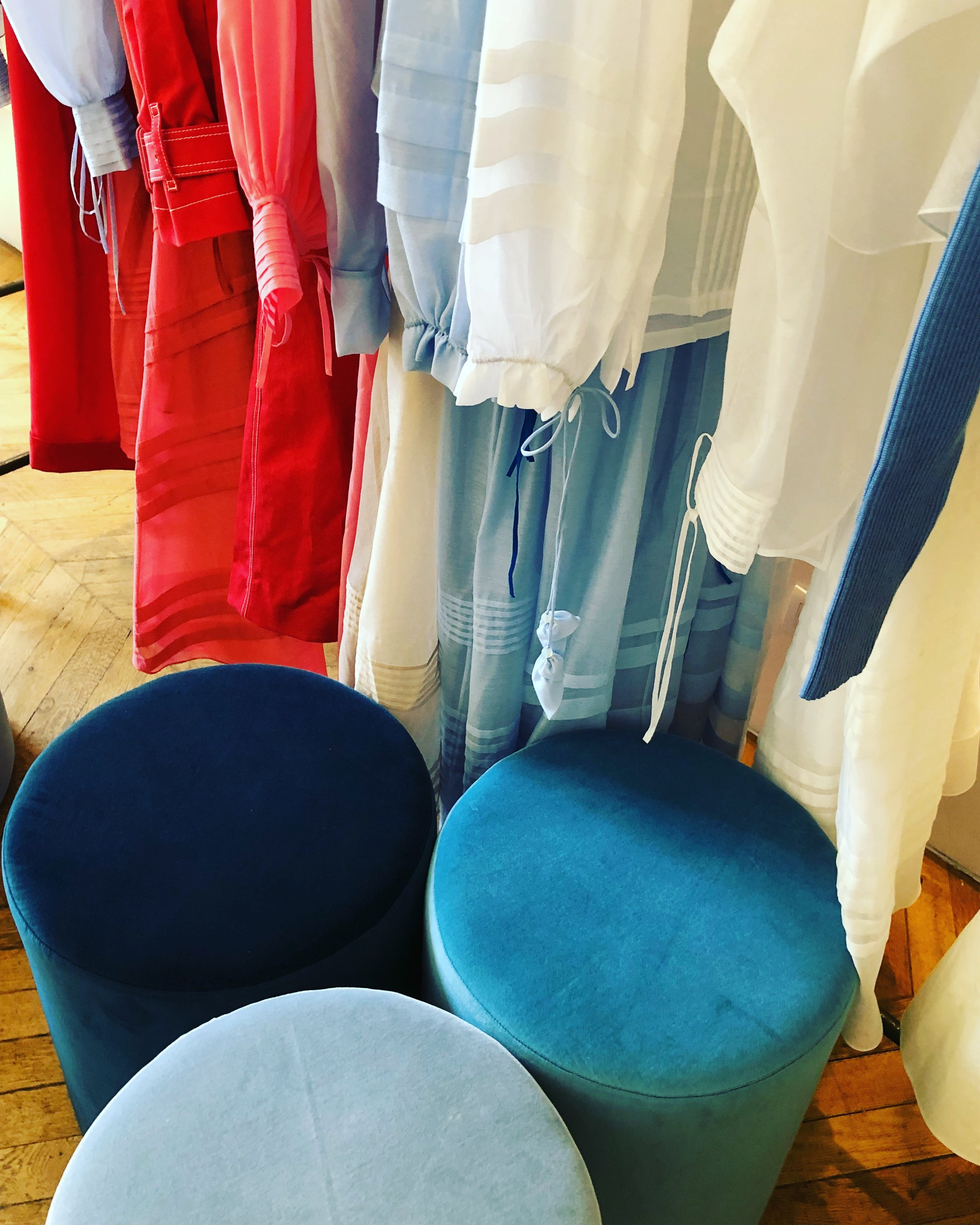 Designer Anna October choose soft powder blues