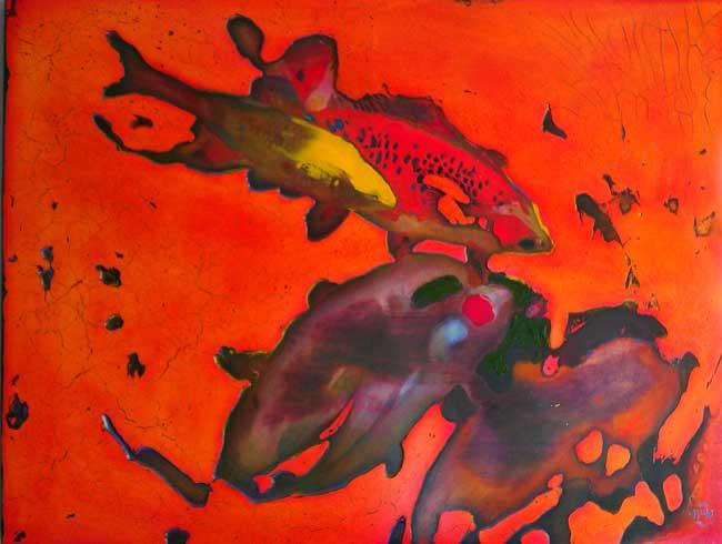 """346 Pond Fury Oil on wood panel 31"""" x 24"""" SOLD"""