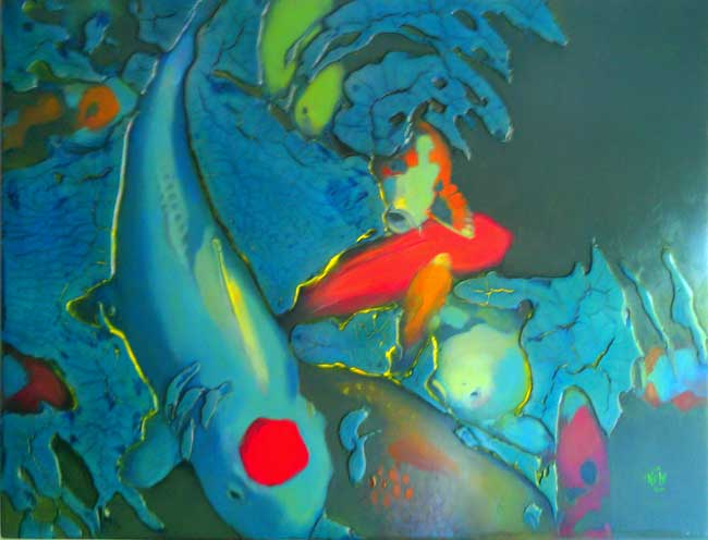 "348 Spotted Cerulean OIL on wood panel 31"" x 24"" SOLD"