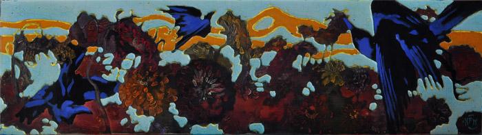 """334 Ravens & Zinnias 44"""" x 13.5"""" Oil on wood panel $2,300."""