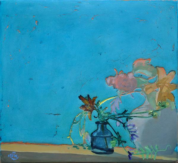"329 Flowers in the Window 25.5"" x 23.5"" Oil on wood panel SOLD"
