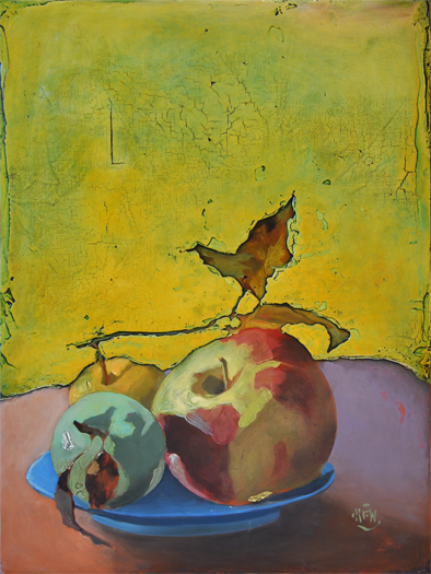 "320 Apples in the Window 17.5"" x 23.5"" Oil on wood panel SOLD"