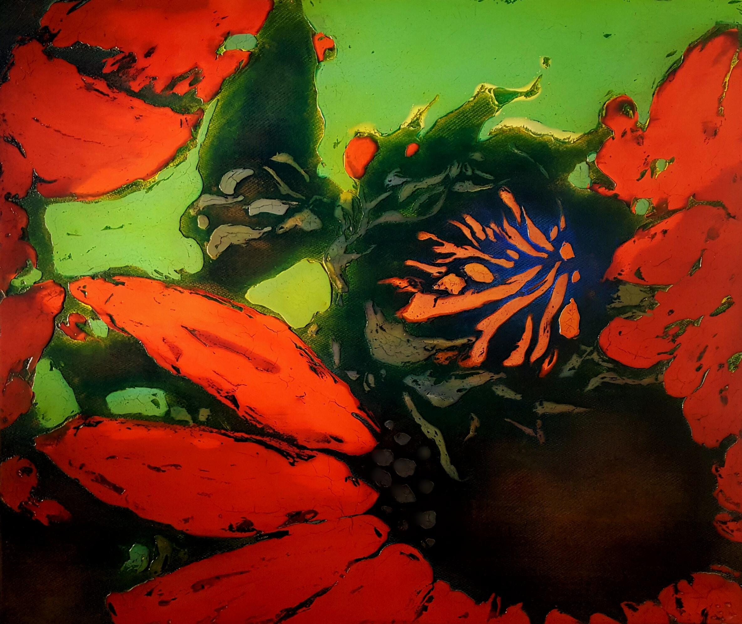 """364 Sunflowers 40.5"""" x 48"""" Oil on wood panel $7,750."""