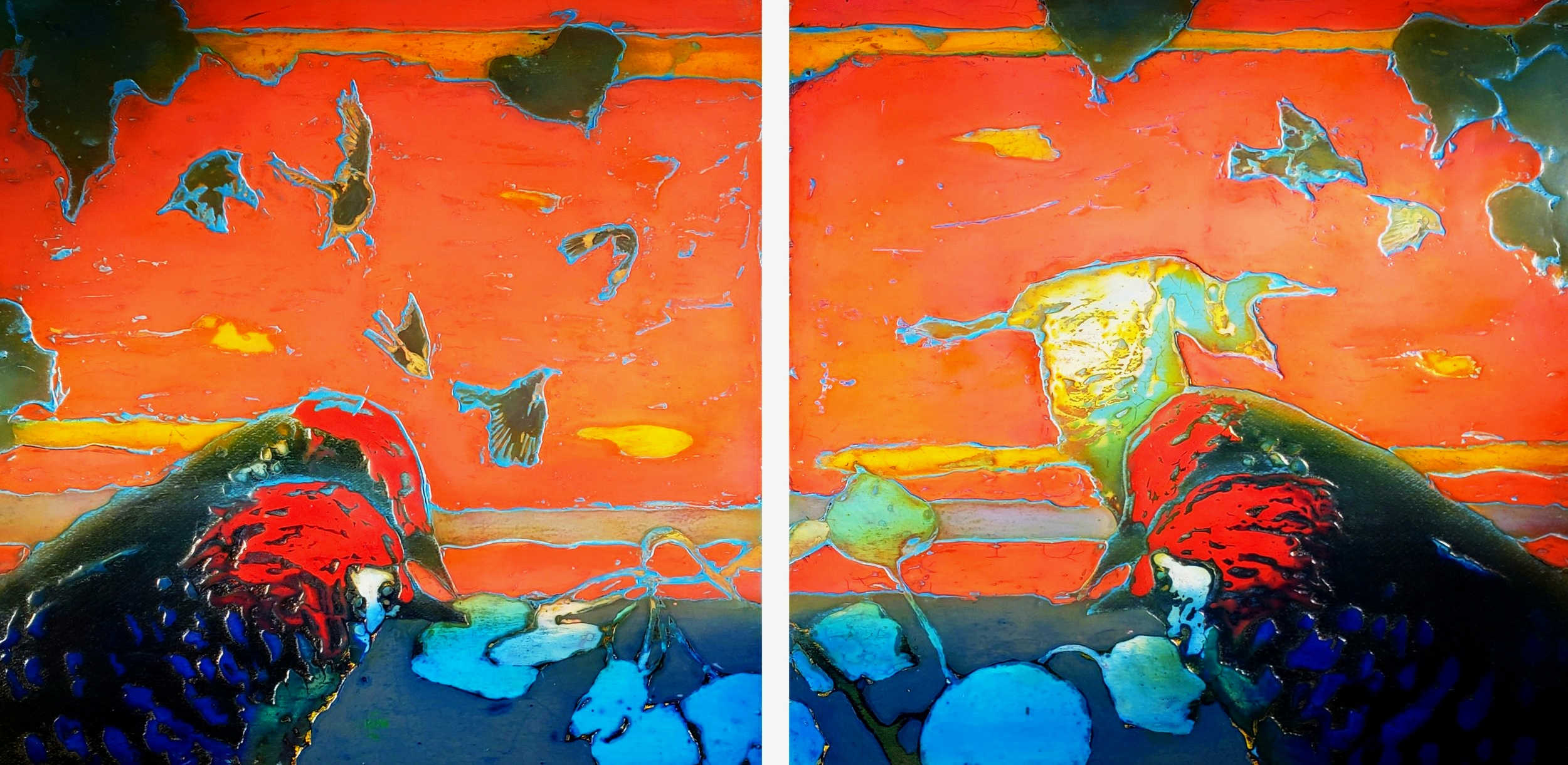 "332 Dawn and Dusk 49"" x 23.5"" Oil on wood panel $4,600."