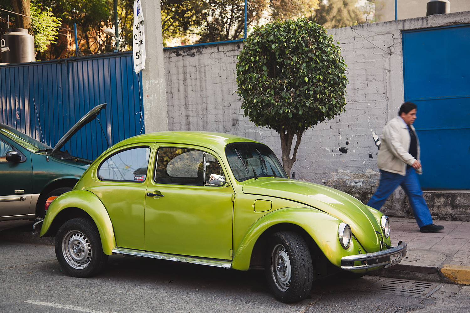 lime green vw bug old volkswagen mexico city df street photography.jpg