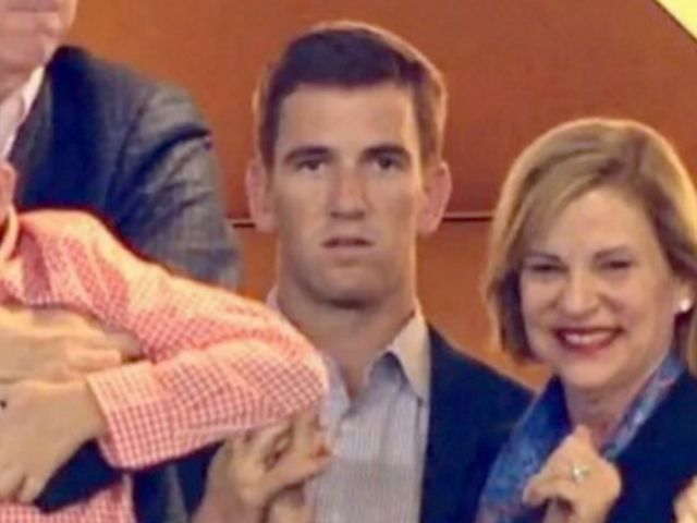 Eli Manning's face just as his brother clinches the win.