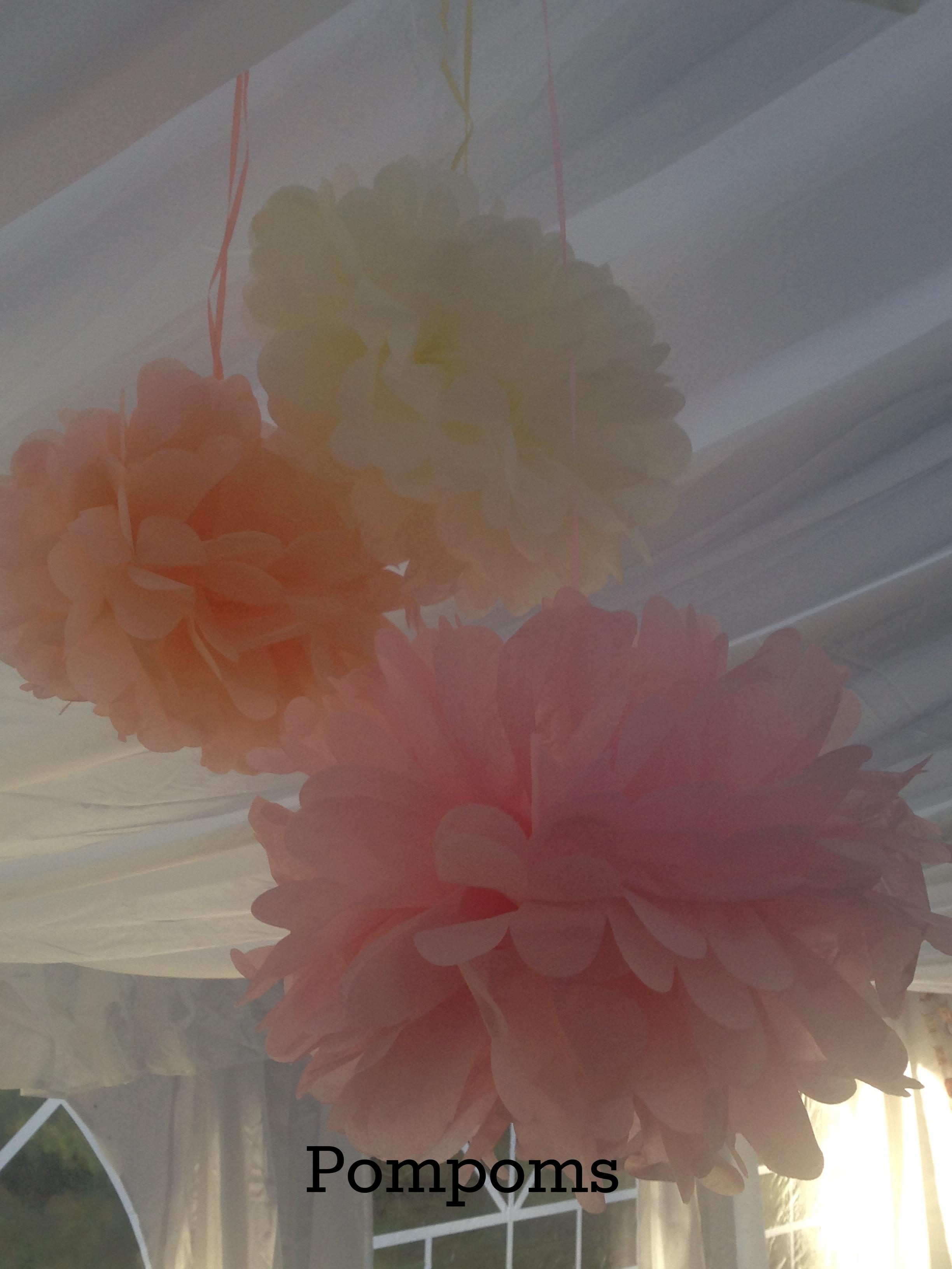 Pom Poms Pink, Peach and Lemon