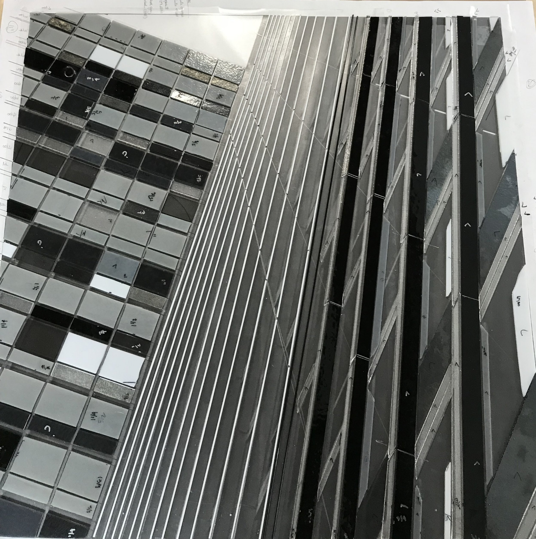 Reflect 1.37a cityview WIP | cutting glass Heather Hancock 2018