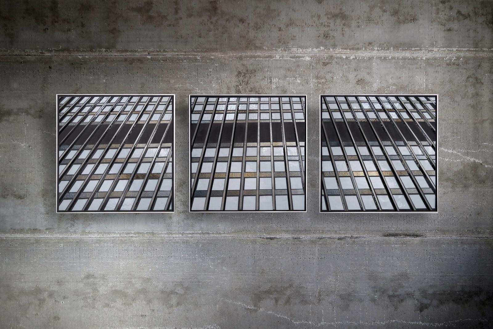 "Reflect 1.39a,b+c each 24""x24"" glass c Heather Hancock 2018"