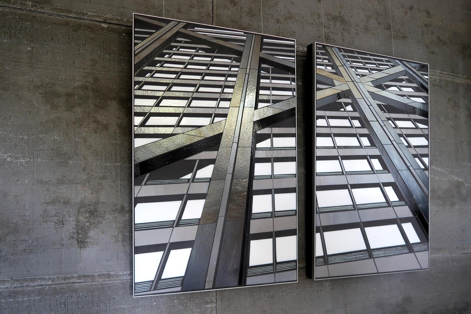"Reflect 4.1a+b beams | 24""x38"" glass c Heather Hancock 2018"