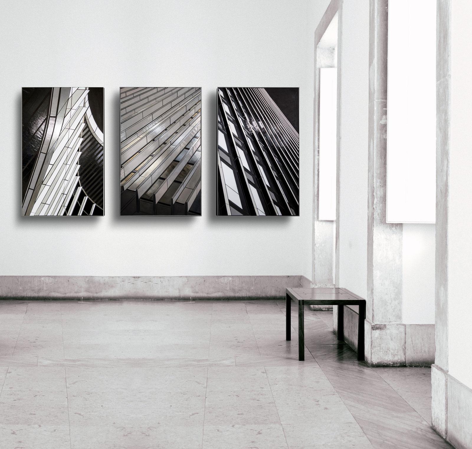"rendering | Reflect triptych | 48""x30"" | glass c Heather Hancock 2019"