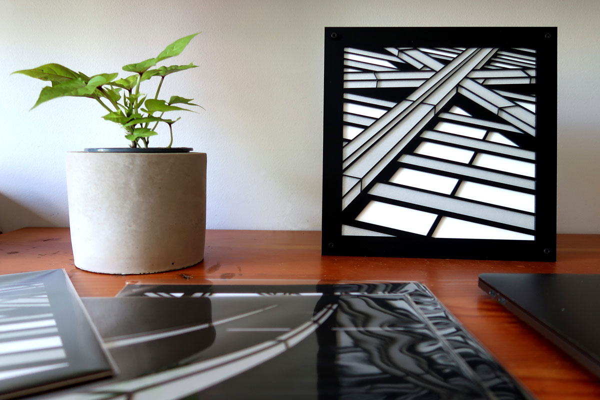 "Crux | lasercut acrylic artist print 8.5"" c Heather Hancock 2019"