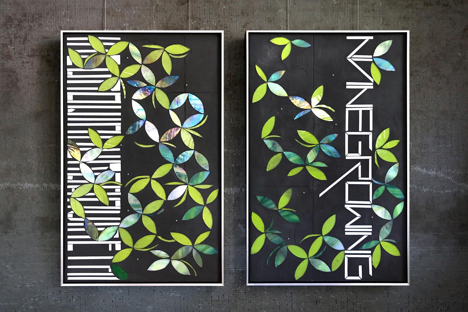 "Grow | urban vine 15""x24"" handcut glass alongside matte black grout c Heather Hancock 2019"