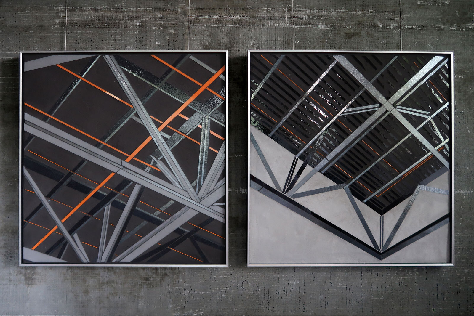"Reflect 1.58 and Reflect 1.57 | Truss studies | each 24""x24"" mixed media with glass inlay c Heather Hancock 2019"