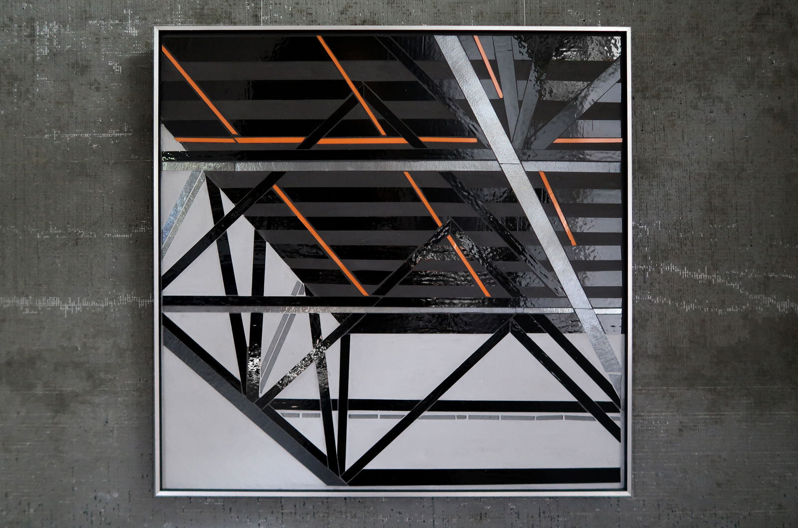 "Reflect 1.59 | Truss study 3 | 24""x24"" mixed media with glass inlay c Heather Hancock 2019"
