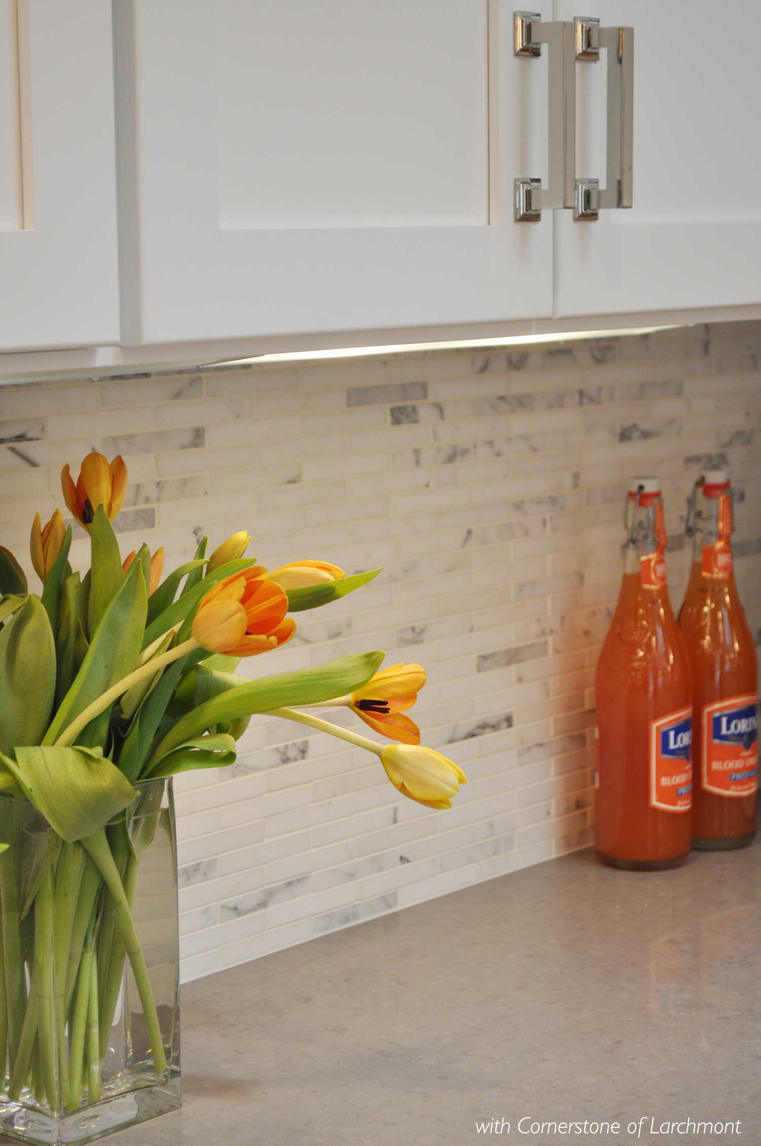 KAM DESIGN LLC_Kitchen Remodel_Nickel Kitchen Handles_Marble Backsplash.jpg