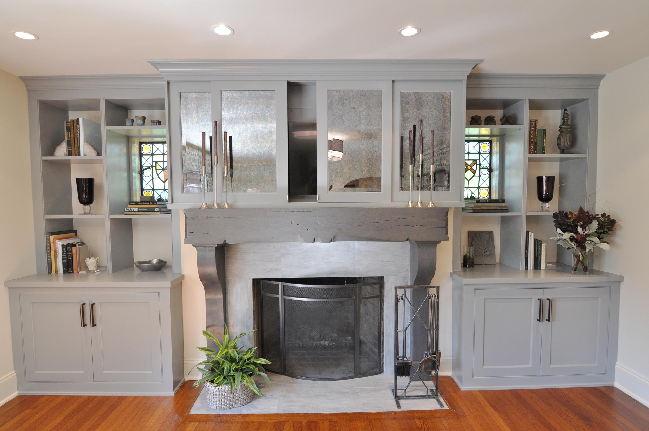 Living Room_Wall Unit_Cabinets_Custom Built-in_Custom Millwork_STEP TWO to Hide TV_Sliding Mirror Panels Hide TV_Fireplace_KAM DESIGN.jpg
