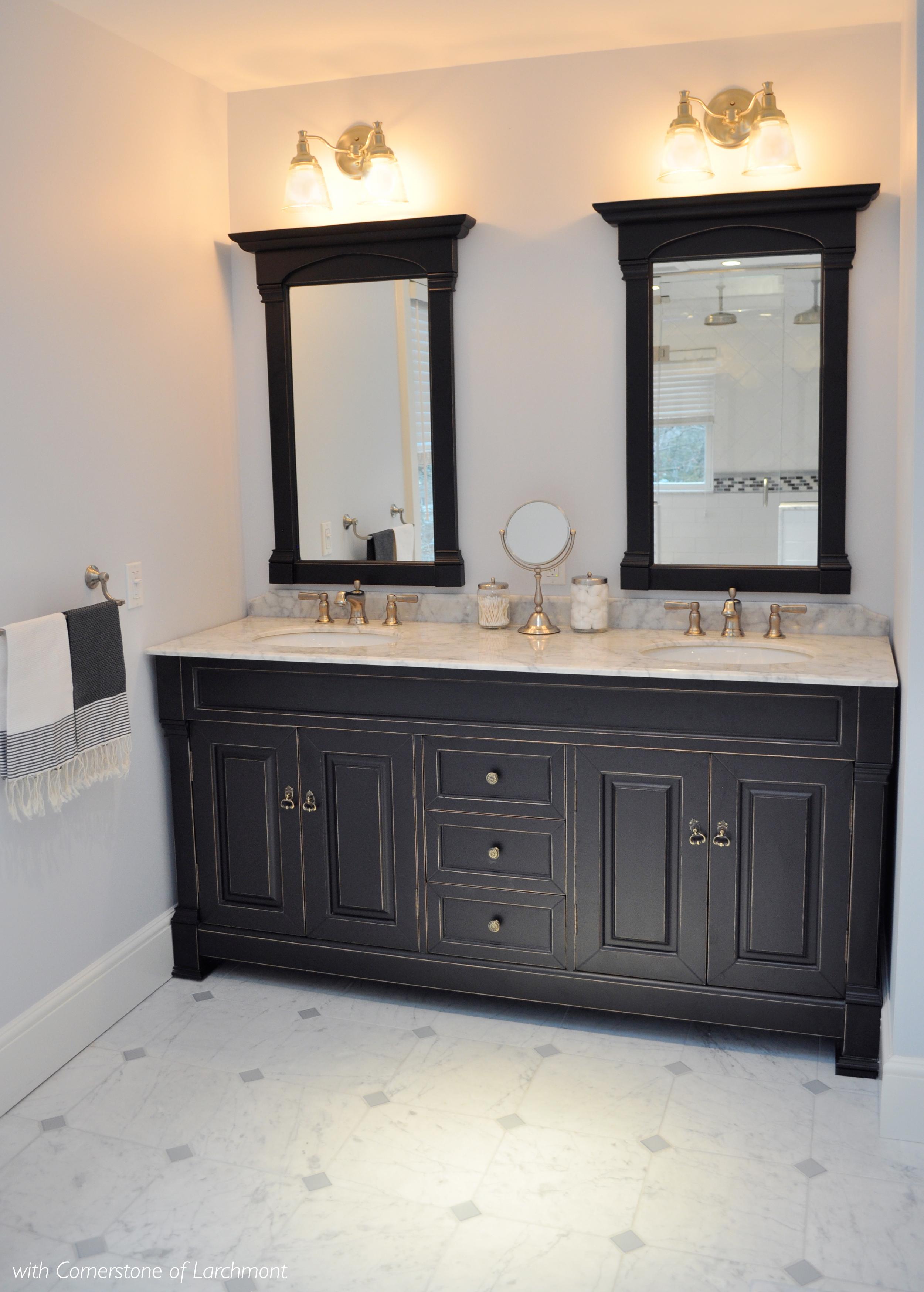 Kim Annick Mitchell_Interior Designer_Master Bathroom_Antique Black Double Vanity_Marble Tile Flooring.jpg