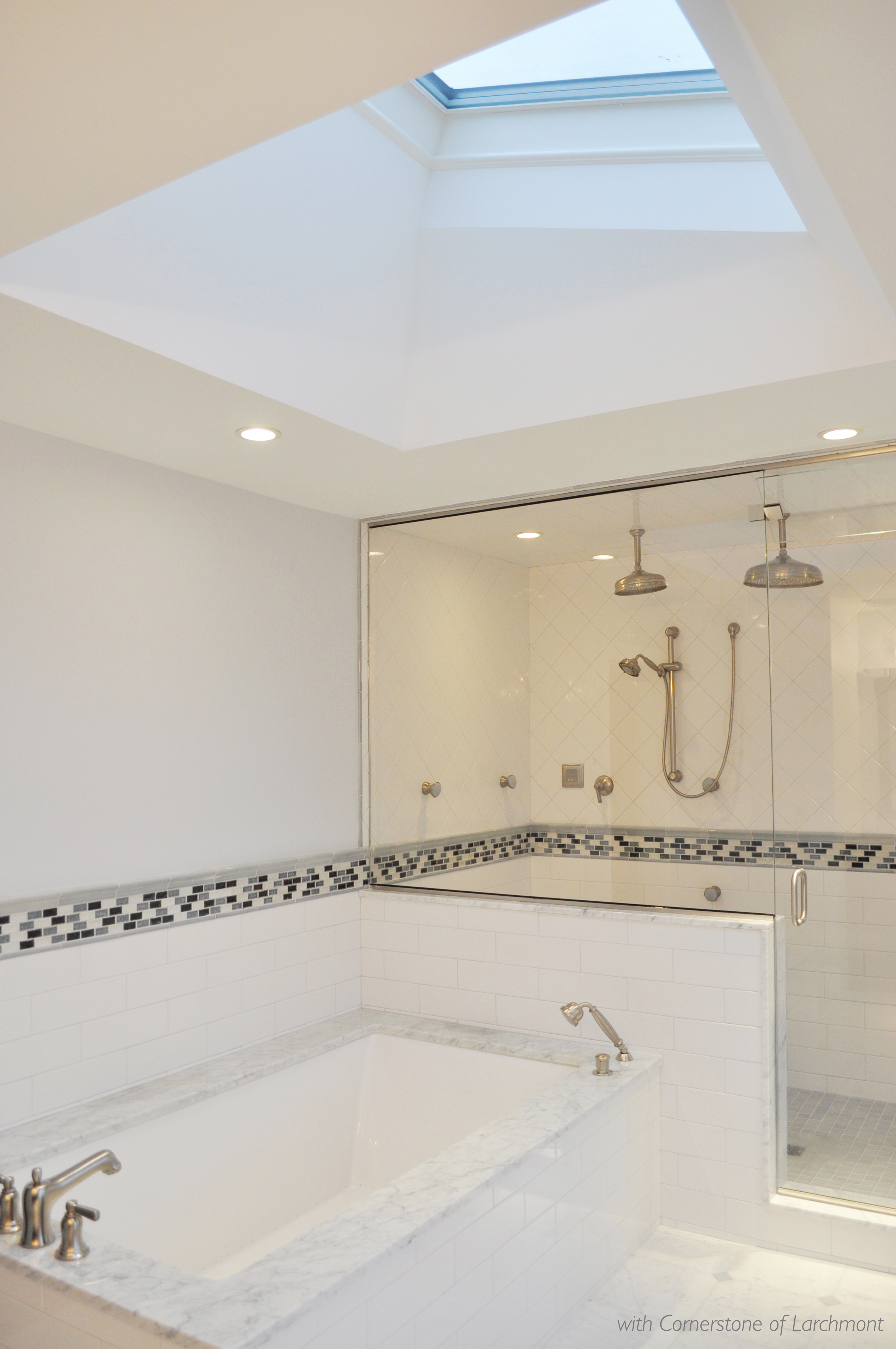 Kim Annick Mitchell_Interior Designer_Master Bathroom_Marble Surround Tub_ Glass Mosaic Tile Chair Rail Detail_Steam Shower_Skylight.jpg