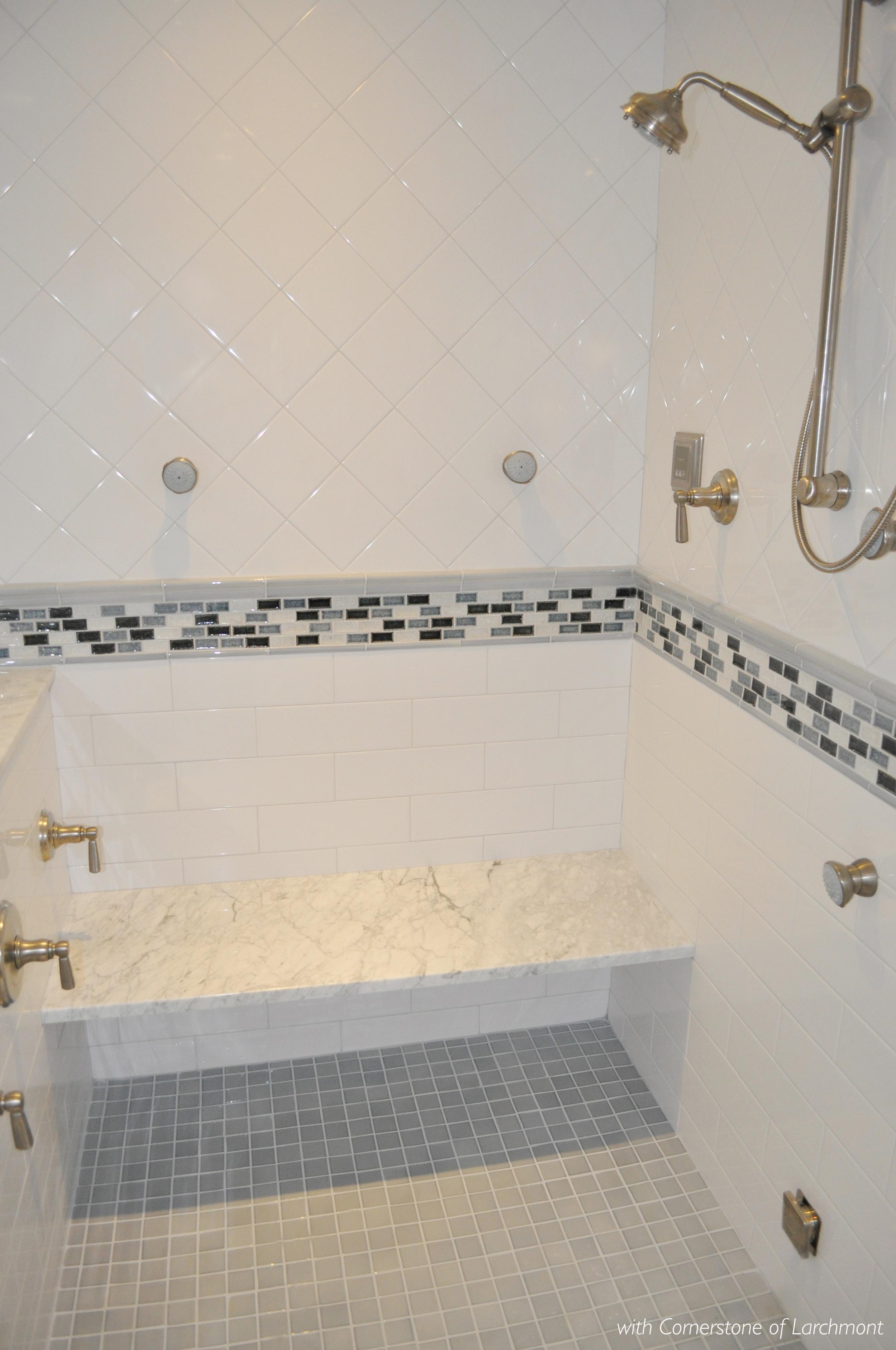 Kim Annick Mitchell_Interior Designer_Master Bathroom_Shower Interior_Marble Shower Seat_White Bath Tile_Glass Mosaic Chair Rail Detail_Steam Shower.jpg