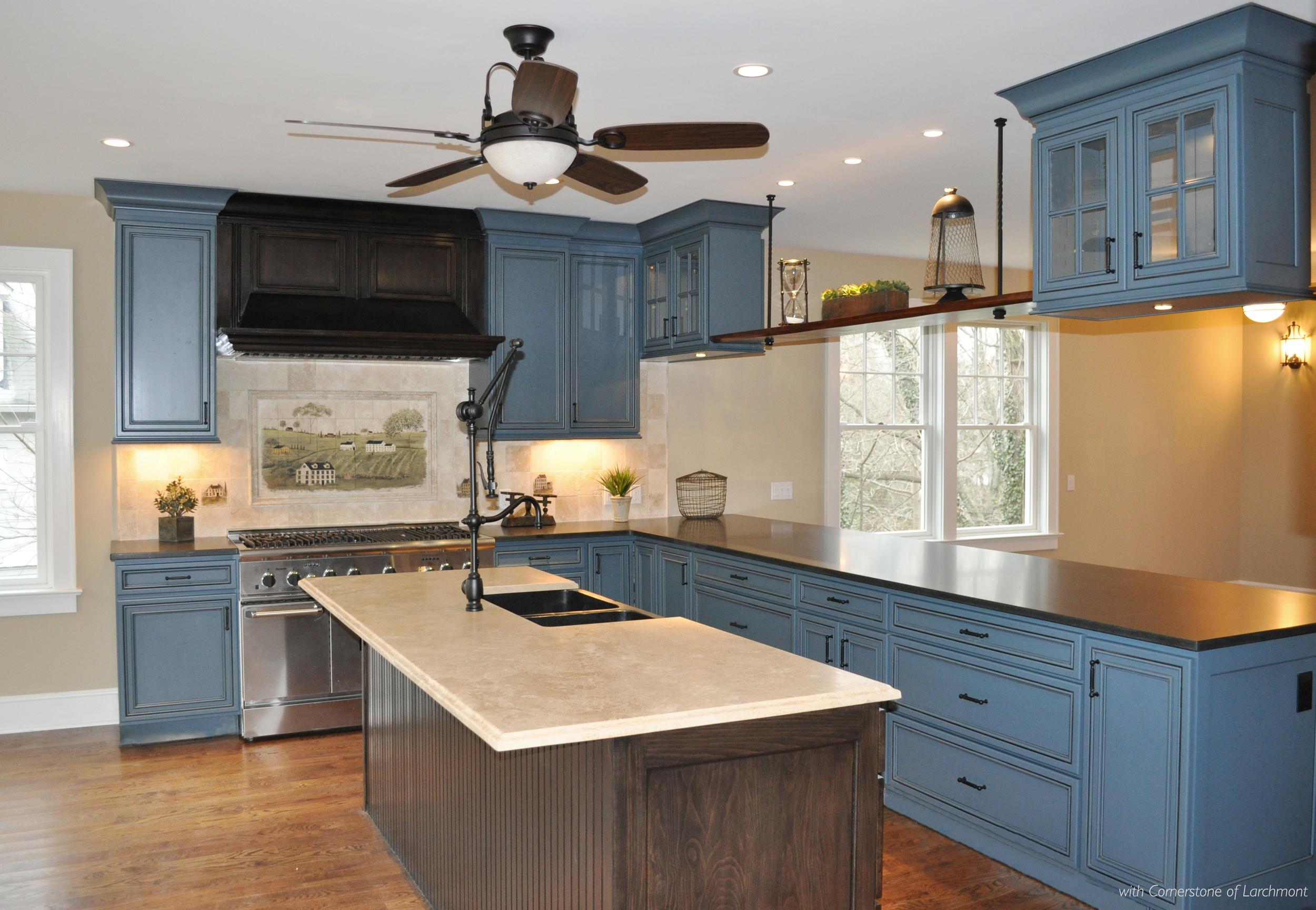 Kim Annick Mitchell_Interior Designer_Industrial Kitchen_Blue Kitchen Cabinetry_Travertine Island_Industrial Pull-down Faucet_First Floor.jpg