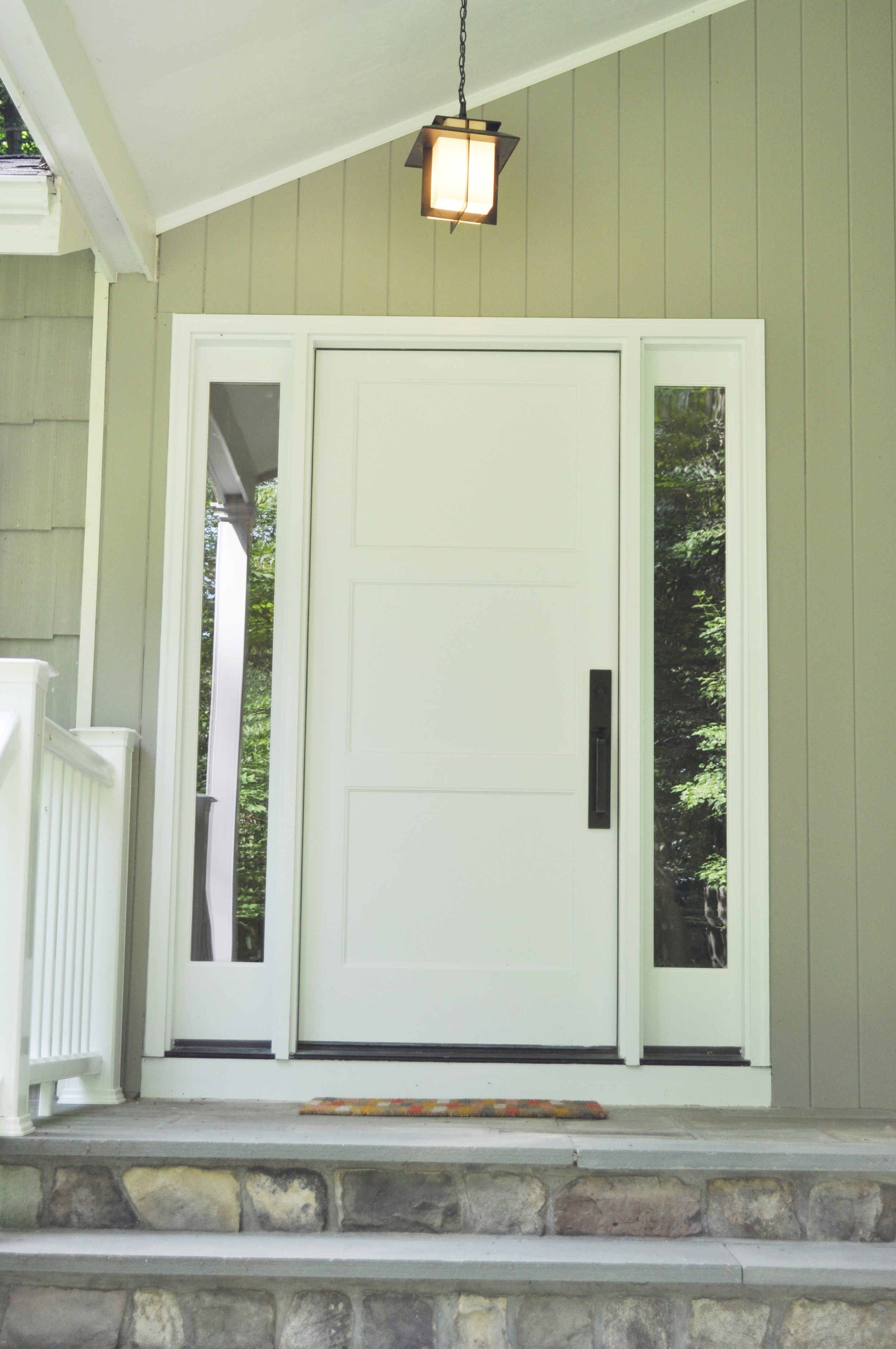 KAM DESIGN LLC_Entry Door Designs_White Front Door_Entry Pendant Light_Oil Rubbed Bronze Hardware_Front Door with Sidelights.jpg
