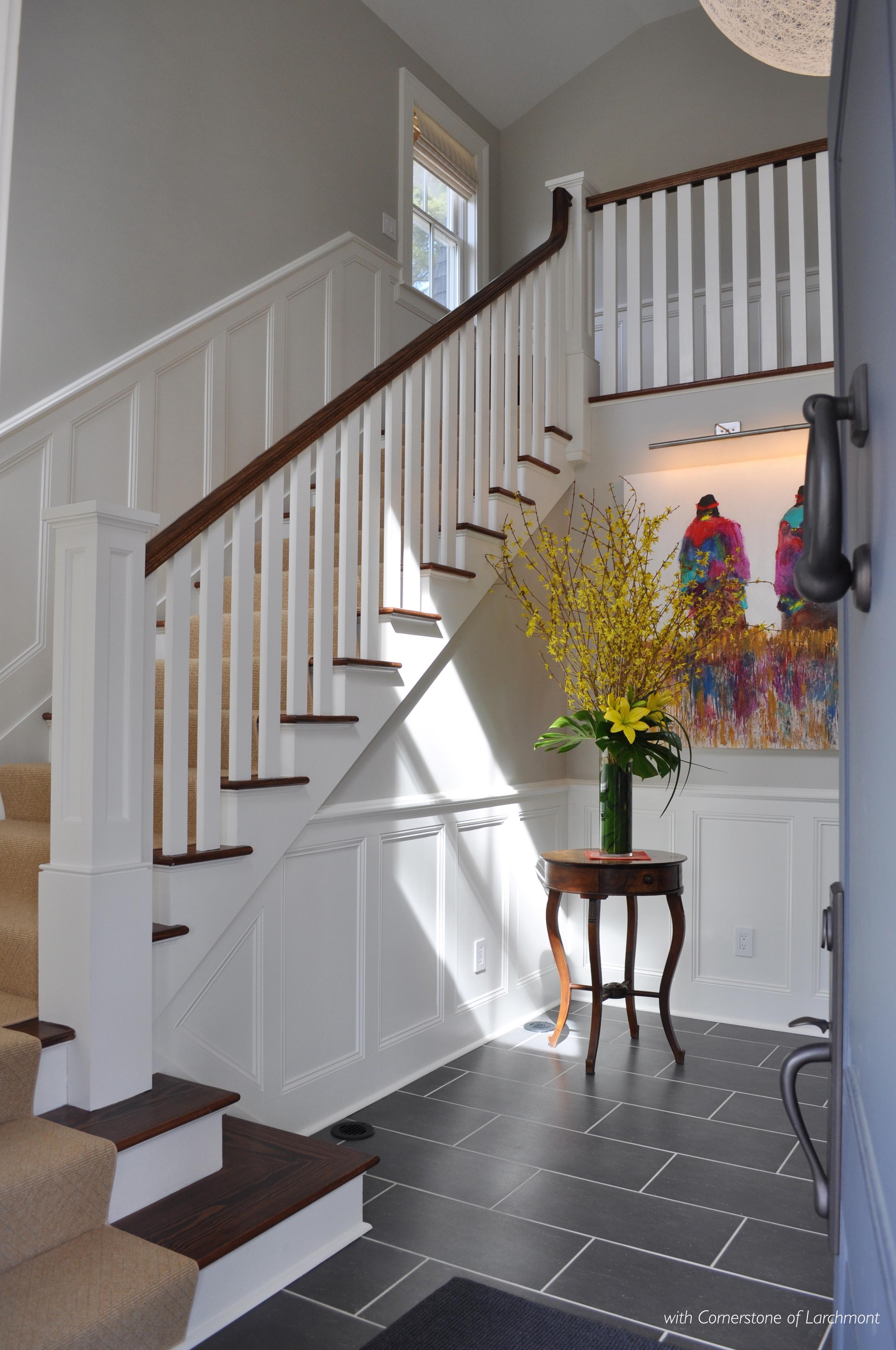 Home Remodel_Front Entry Door_Foyer_Porcelain Floor Tile_Gray Walls_Blue Front Door_Picture Lights_Westchester NY_KAM DESIGN LLC.jpg