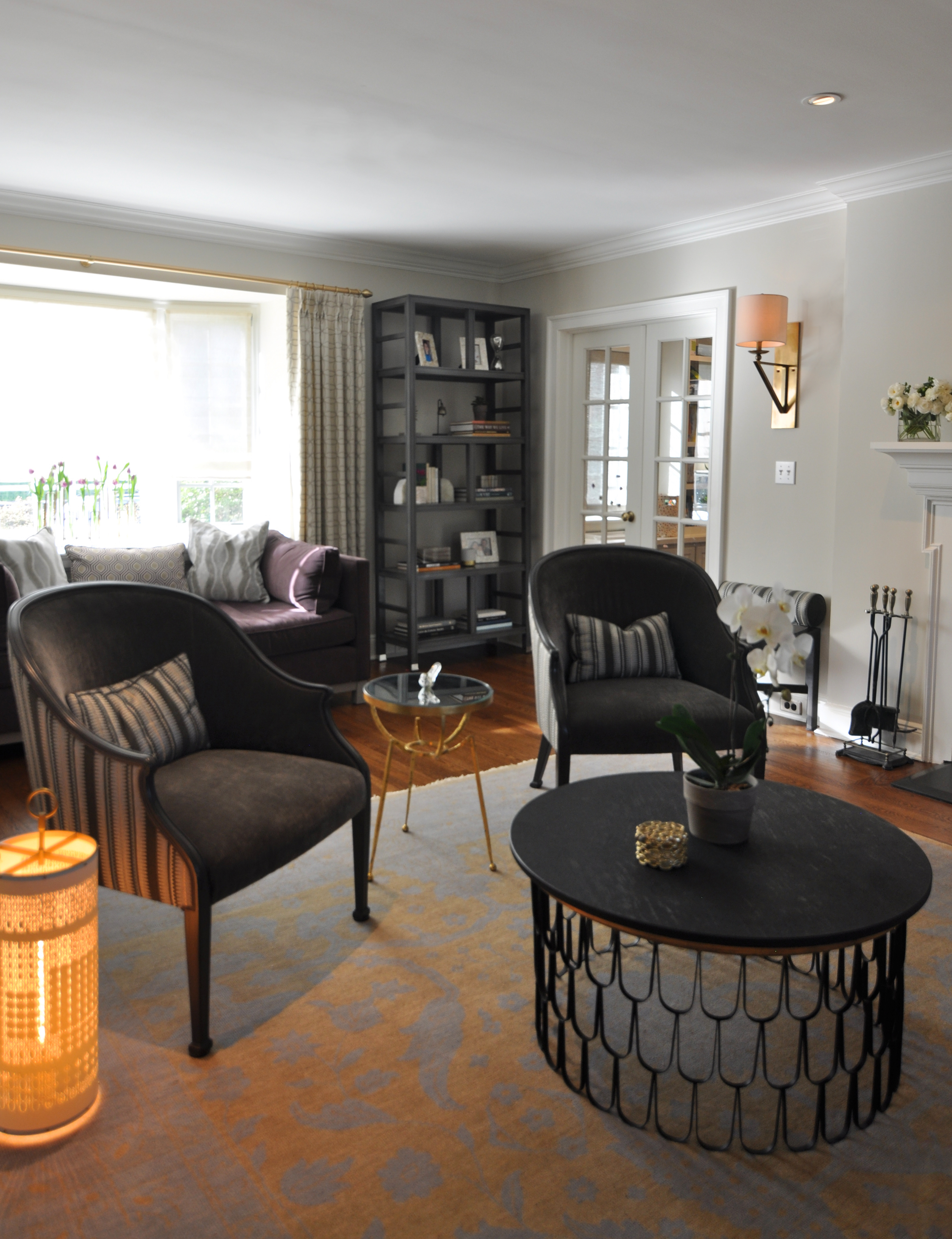 KAM DESIGN_Kim A Mitchell Interior Designer_Timeless Relaxed Elgance_Living Room_Arteriors Cocktail Table_Vanguard Etagere_MGBW Lounge_Fiyel Levent Lantern_Pollock Fabric on Reupholsterd Chairs_Larchmont NY_2016 for.jpg
