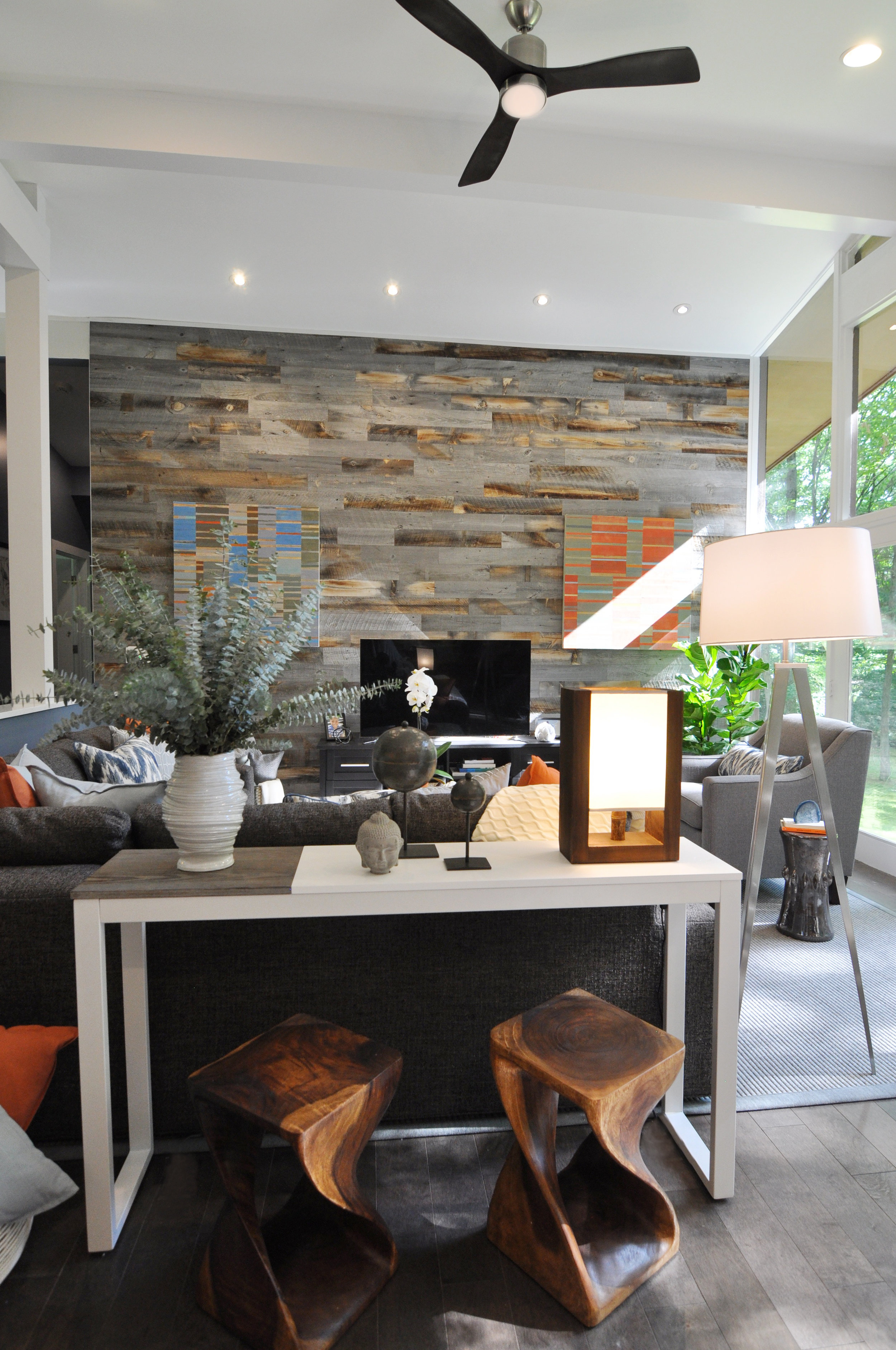 Kim A Mitchell_Design Lead_HGTV_The Property Brothers_Season 6_Episode 9_View from Family Room_Living Room_Reclaimed Wood Wall_2017_Soft Modern.jpg