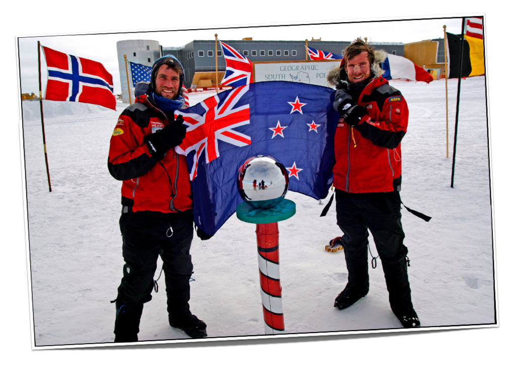 Kevin Biggar and Jamie Fitzgerald at the South Pole