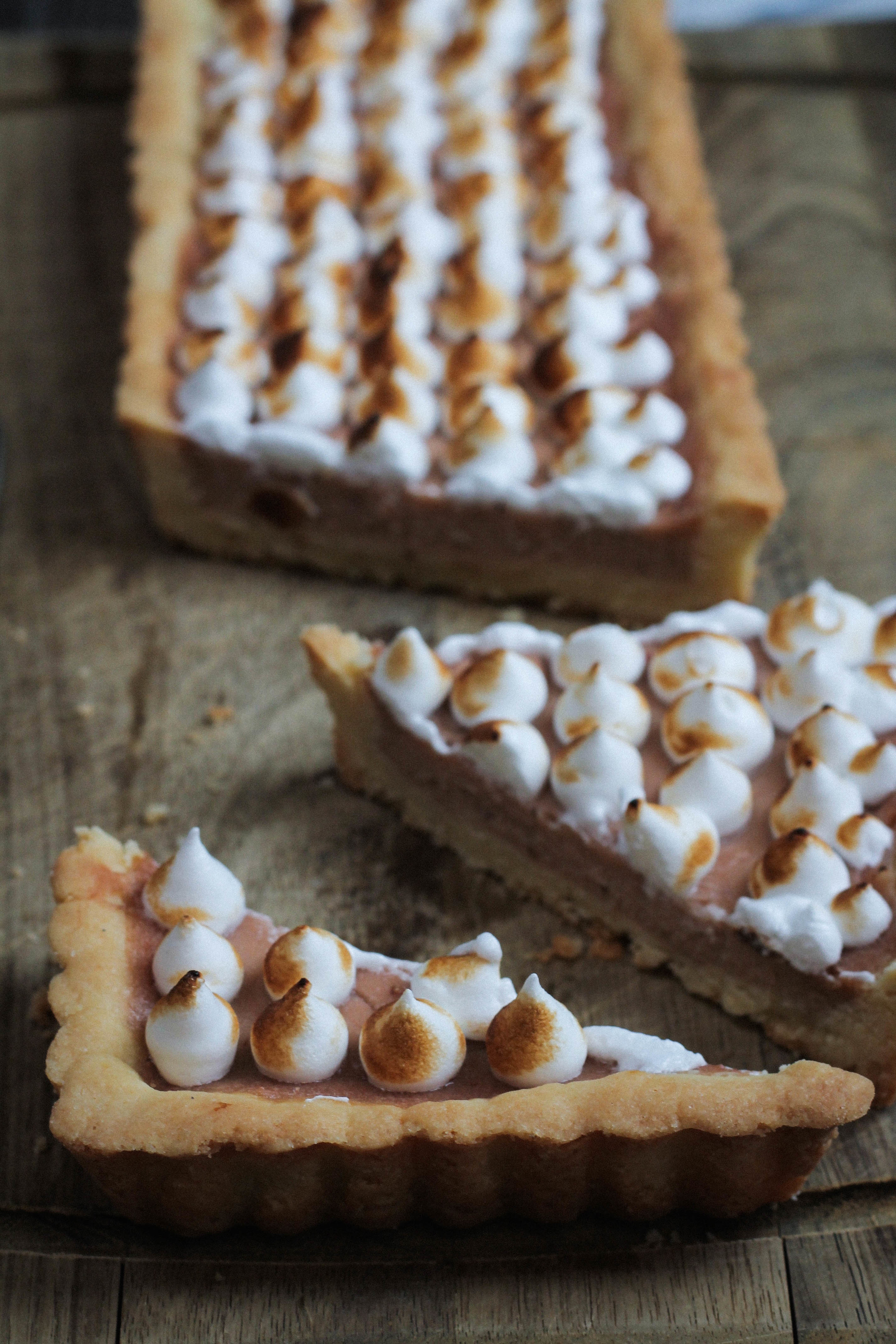 Strawberry Rhubarb Tart + Toasted Almond Meringue || Cream + Honey