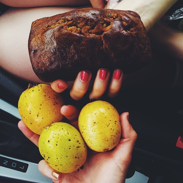 You stop to pick some fresh guavas on the side of the road. Someone is selling homemade banana bread from a stand, you buy some. You eat. You melt into a happy puddle of buttery-banana goo.