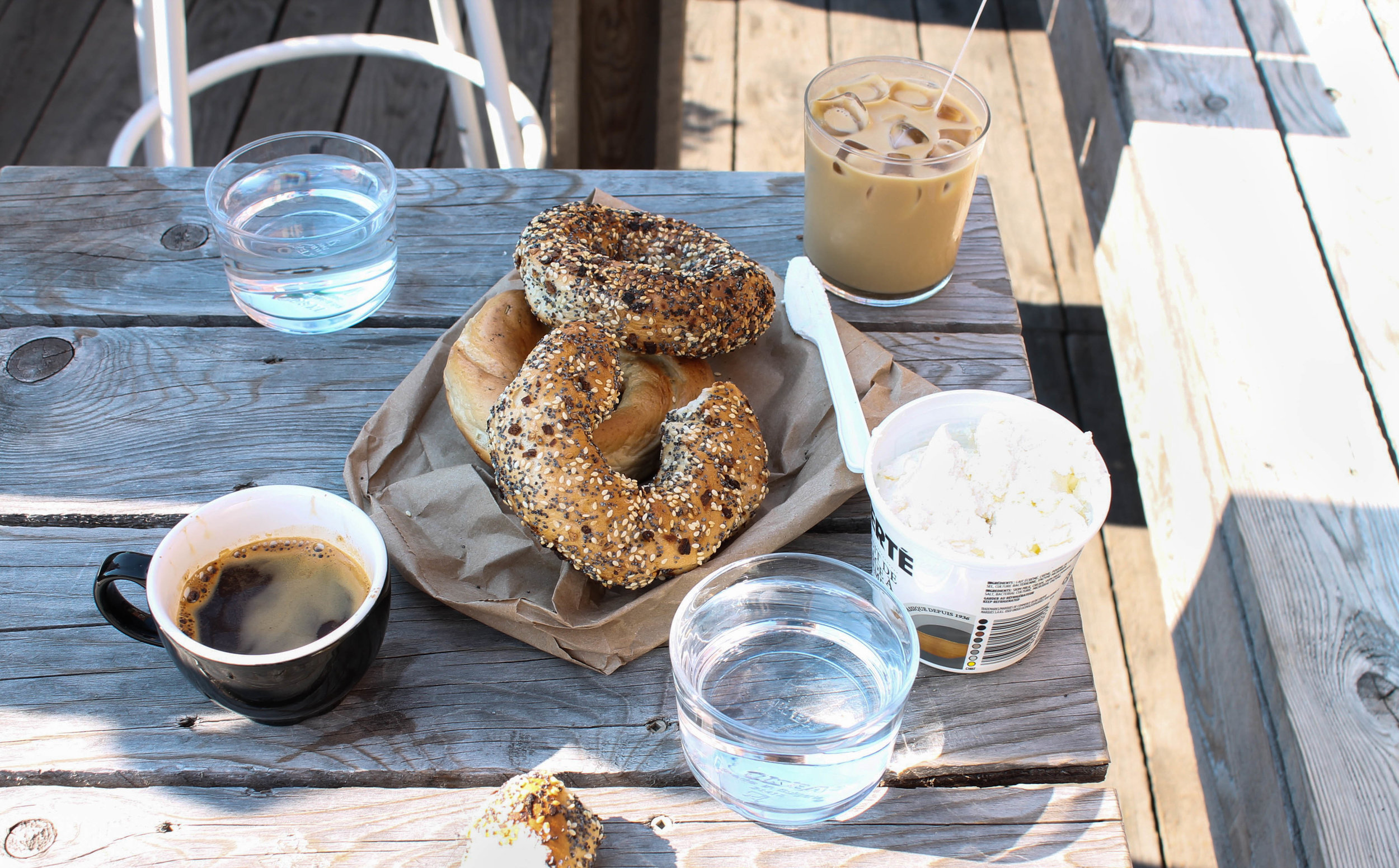 St-Viateur Bagels + allongés at Dispatch Coffee