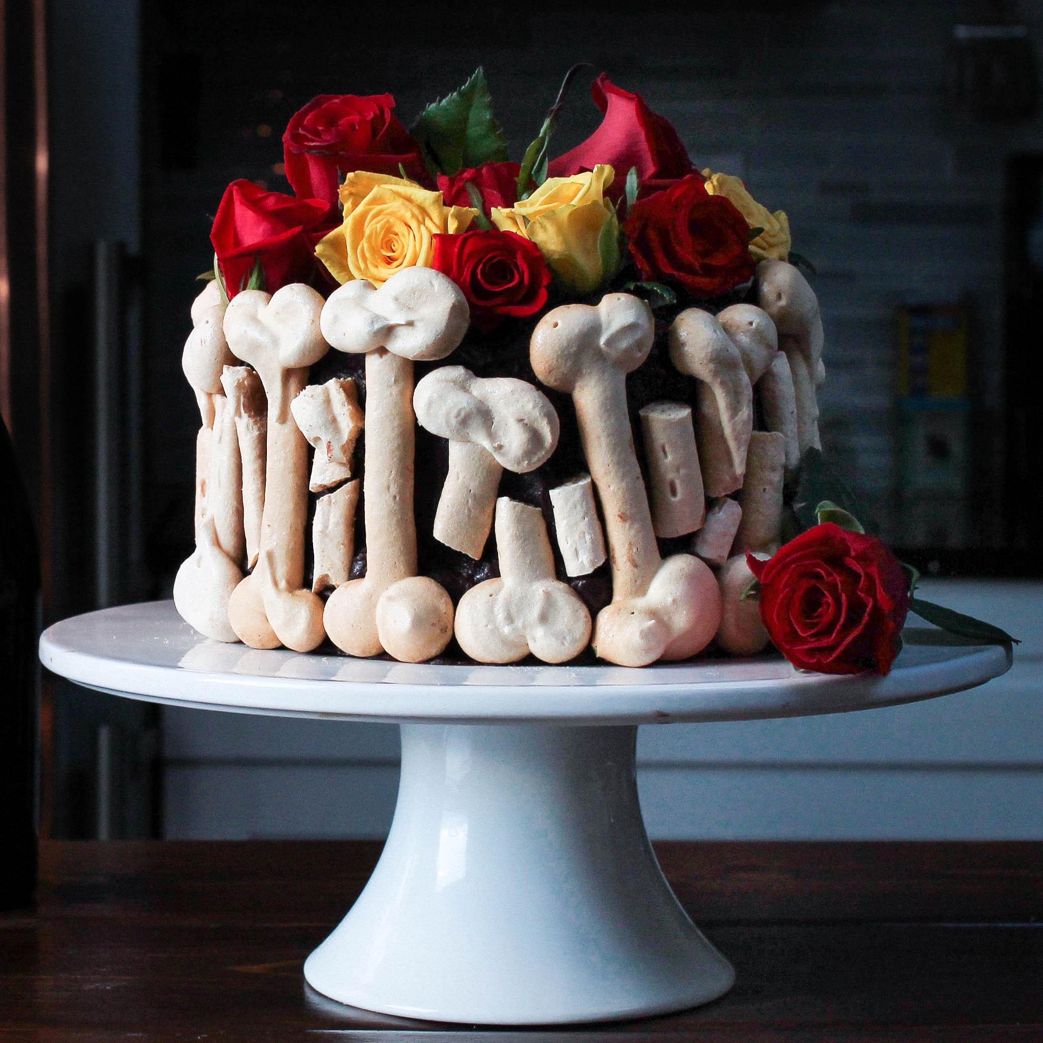 CHOCOLATE + SALTED DULCE DE LECHE GRAVEYARD CAKE
