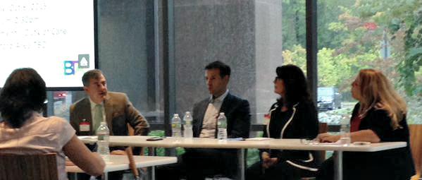 """Greg moderates GBTA NJ panel """"Sustainability: Bringing Value to Your Organization Through Partnership"""" (Photo courtesy of Bruce Boillotat)"""