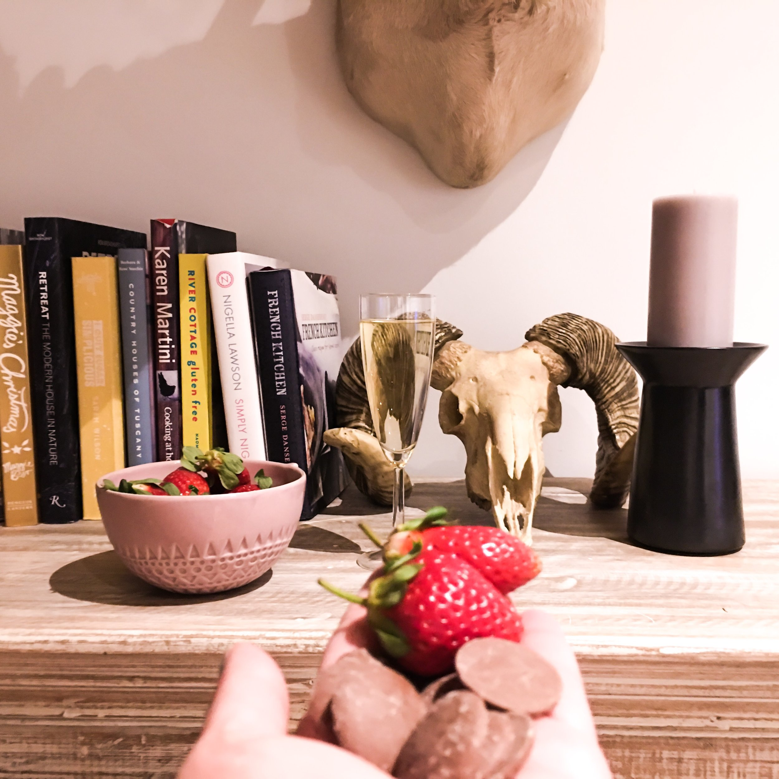 The strawberries, chocolate and champagne which Jo had waiting for us were thoroughly enjoyed whilst exploring and enjoying several books, candles and oh the fireplace!